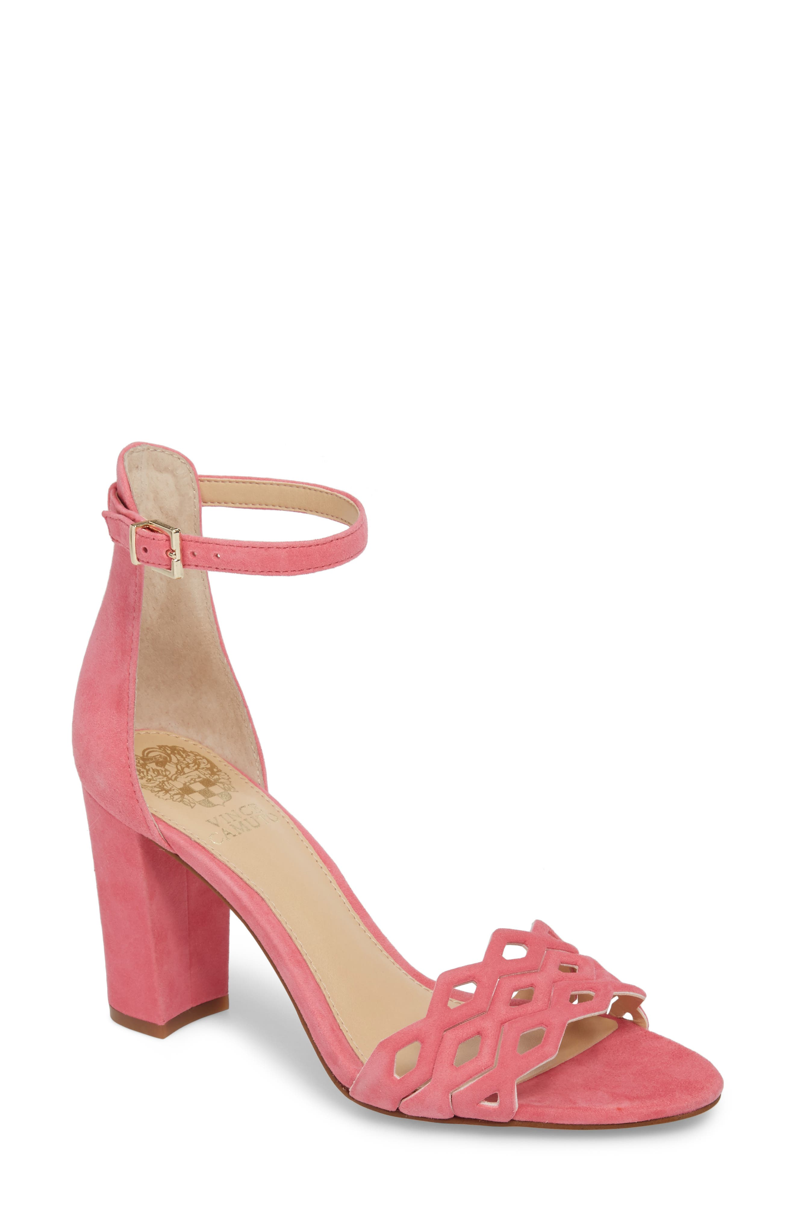 Caveena Block Heel Sandal,                             Main thumbnail 1, color,                             Soft Pink Suede