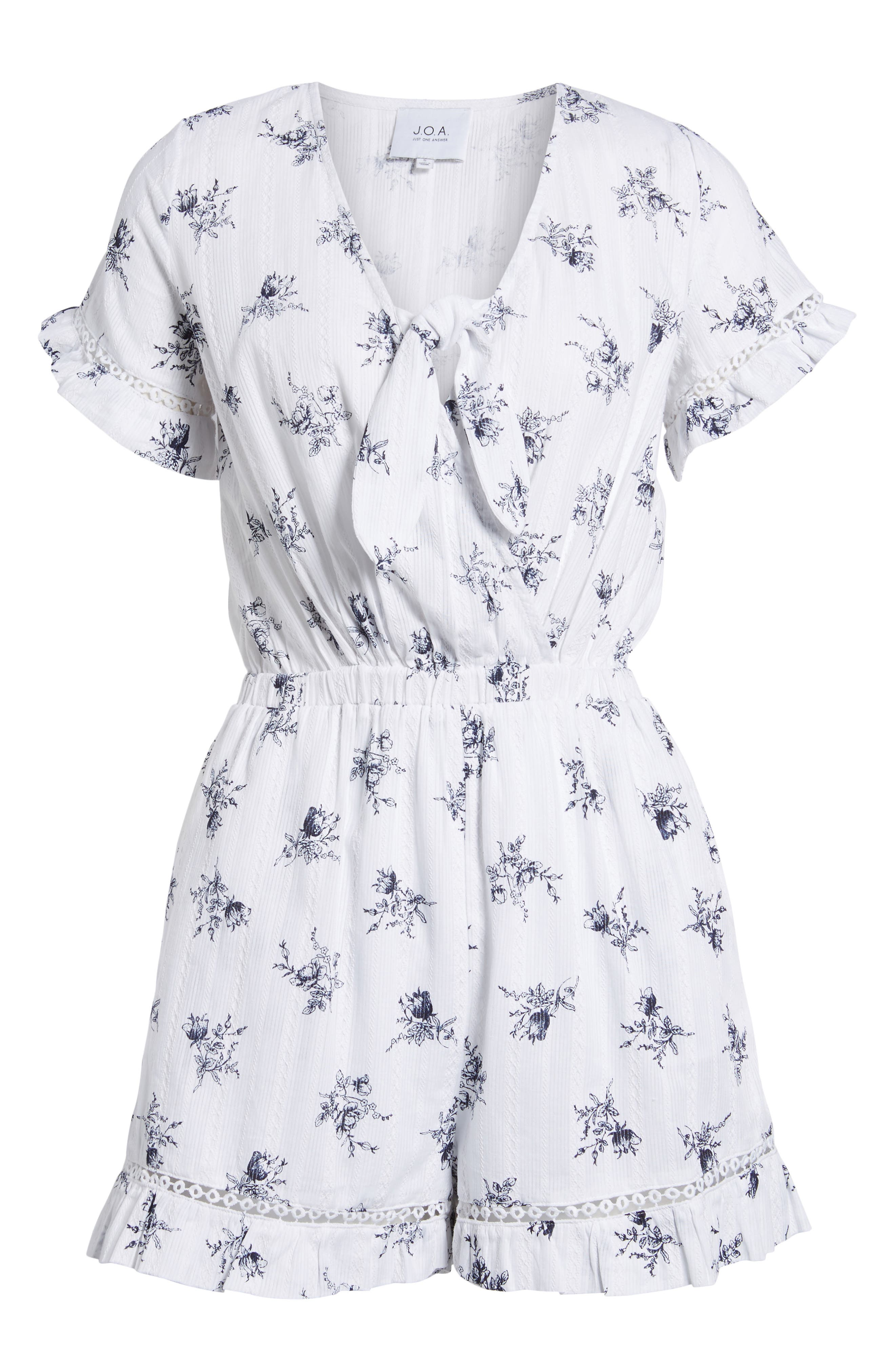 Tie Front Romper,                             Alternate thumbnail 7, color,                             White/ Navy