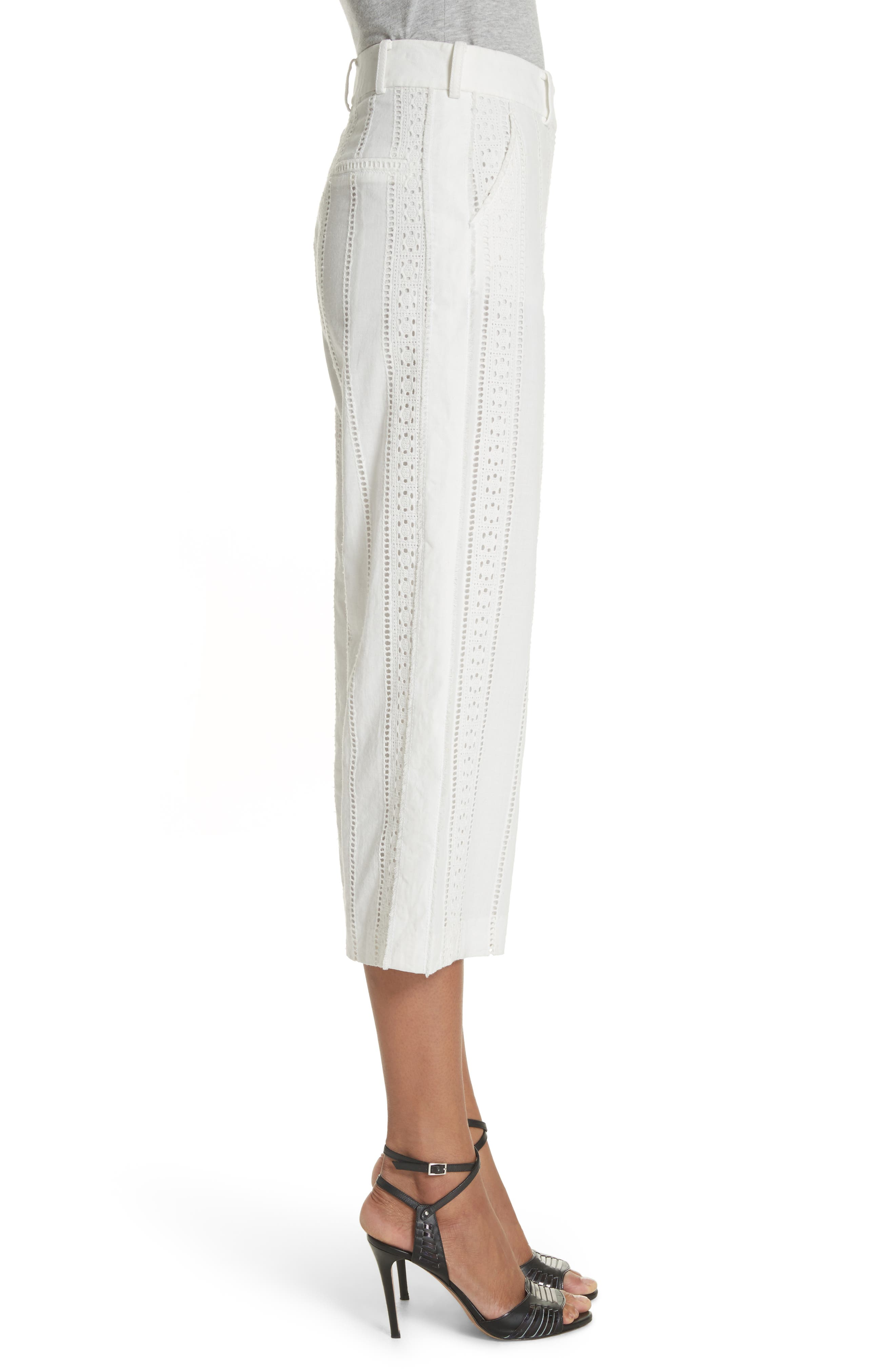 Leta Eyelet Gaucho Pants,                             Alternate thumbnail 3, color,                             White