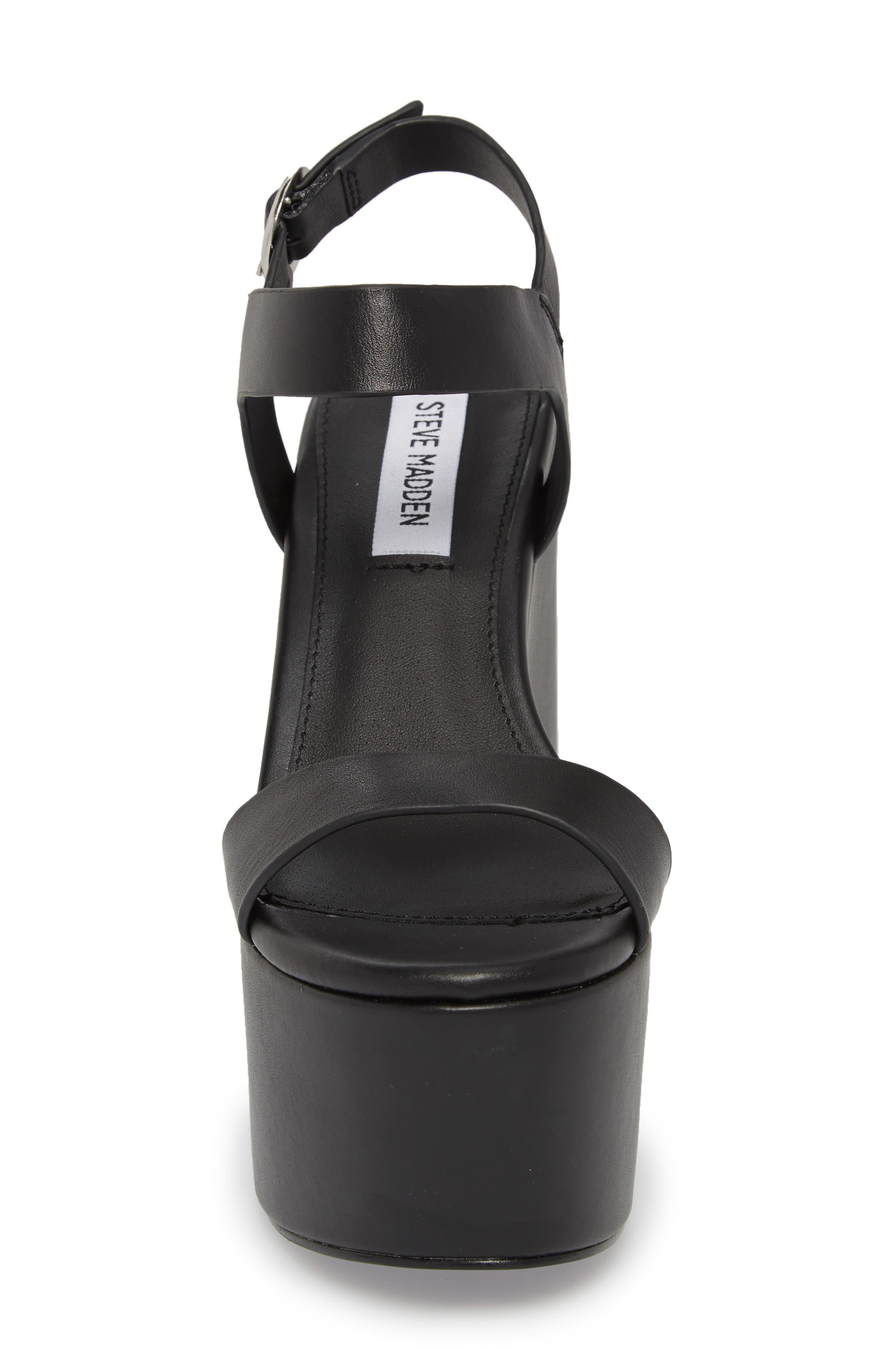 Advice Platform Sandal,                             Alternate thumbnail 4, color,                             Black Leather