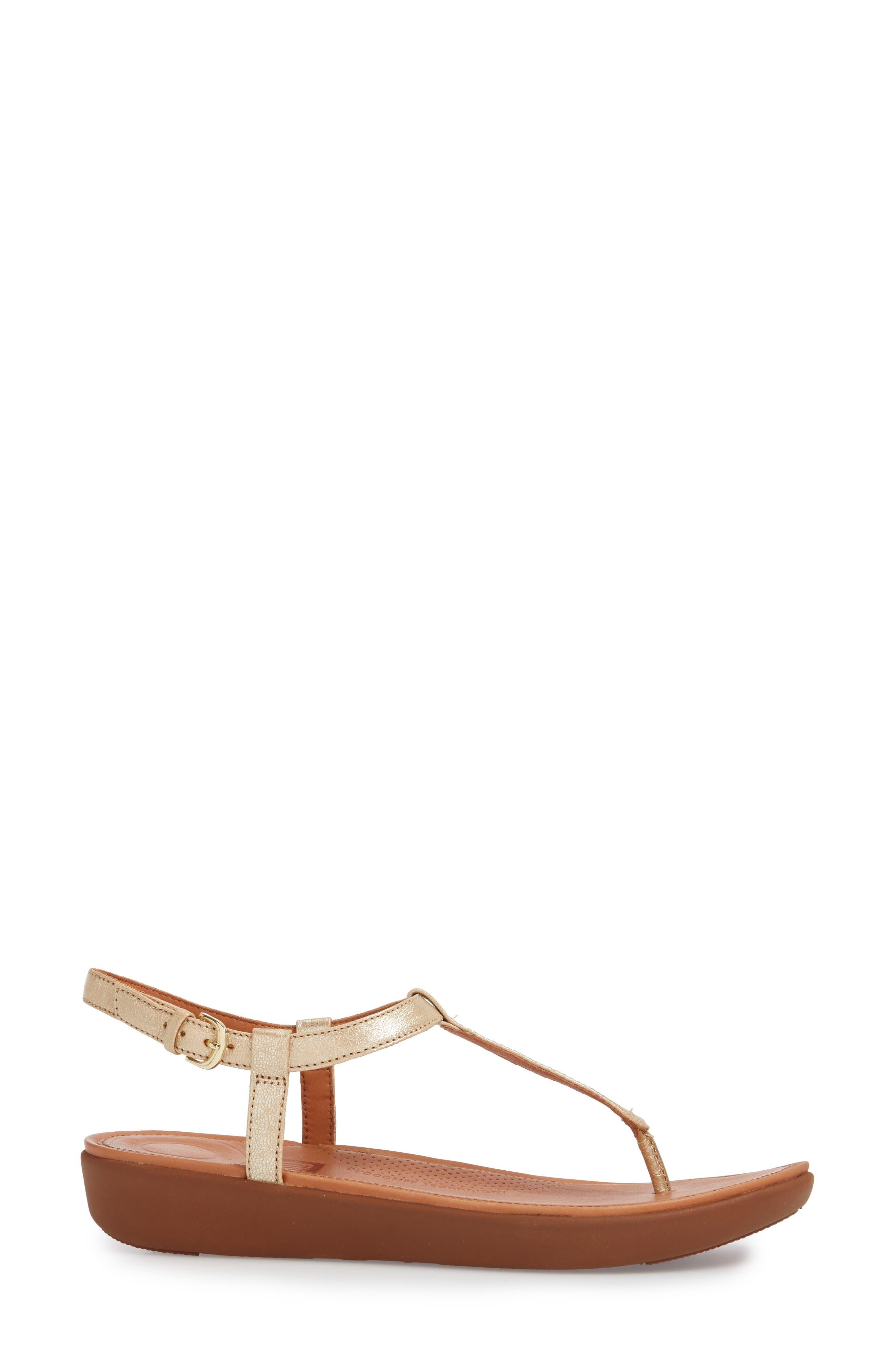 Tia Thong Sandal,                             Alternate thumbnail 3, color,                             Pale Gold Leather