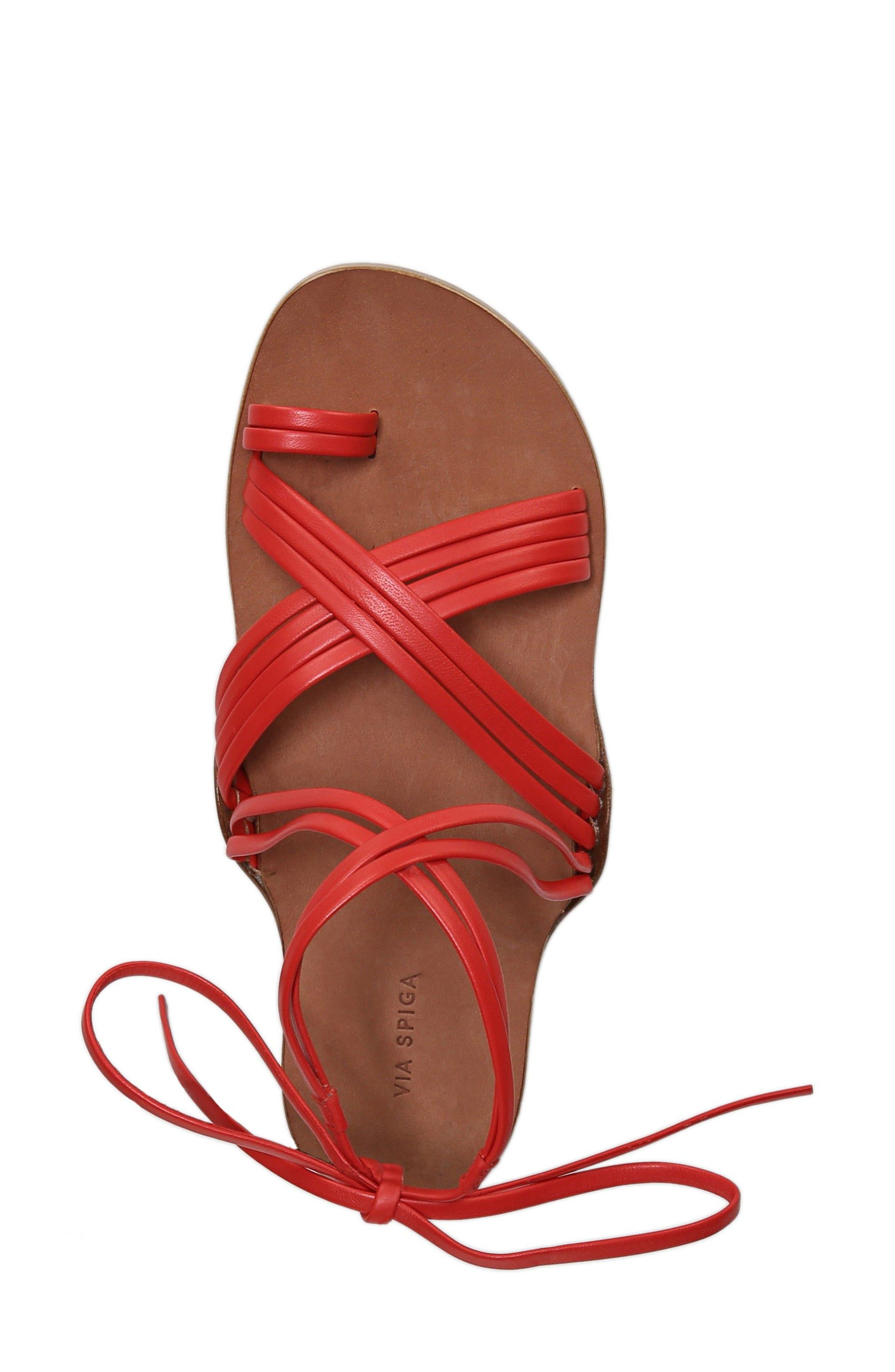 Allegra Sandal,                             Alternate thumbnail 5, color,                             Poppy Red Leather