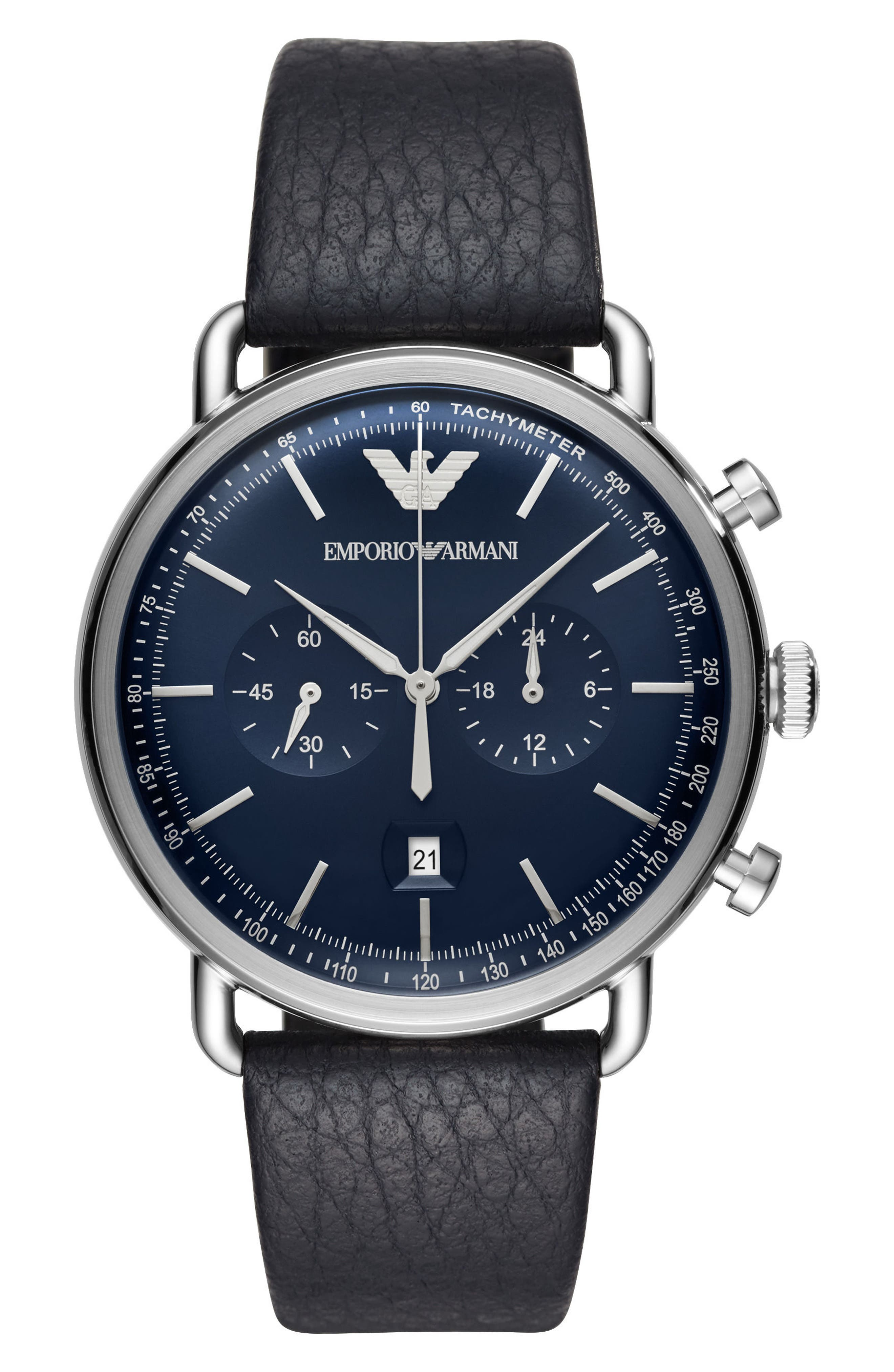 Aviator Leather Strap Chronograph Watch, 43mm,                         Main,                         color, Blue/ Blue