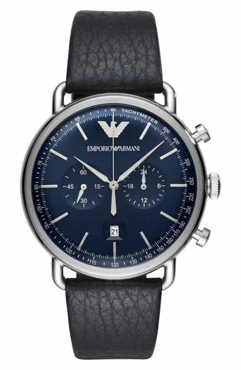 510bc9a5627 Emporio Armani Aviator Leather Strap Chronograph Watch