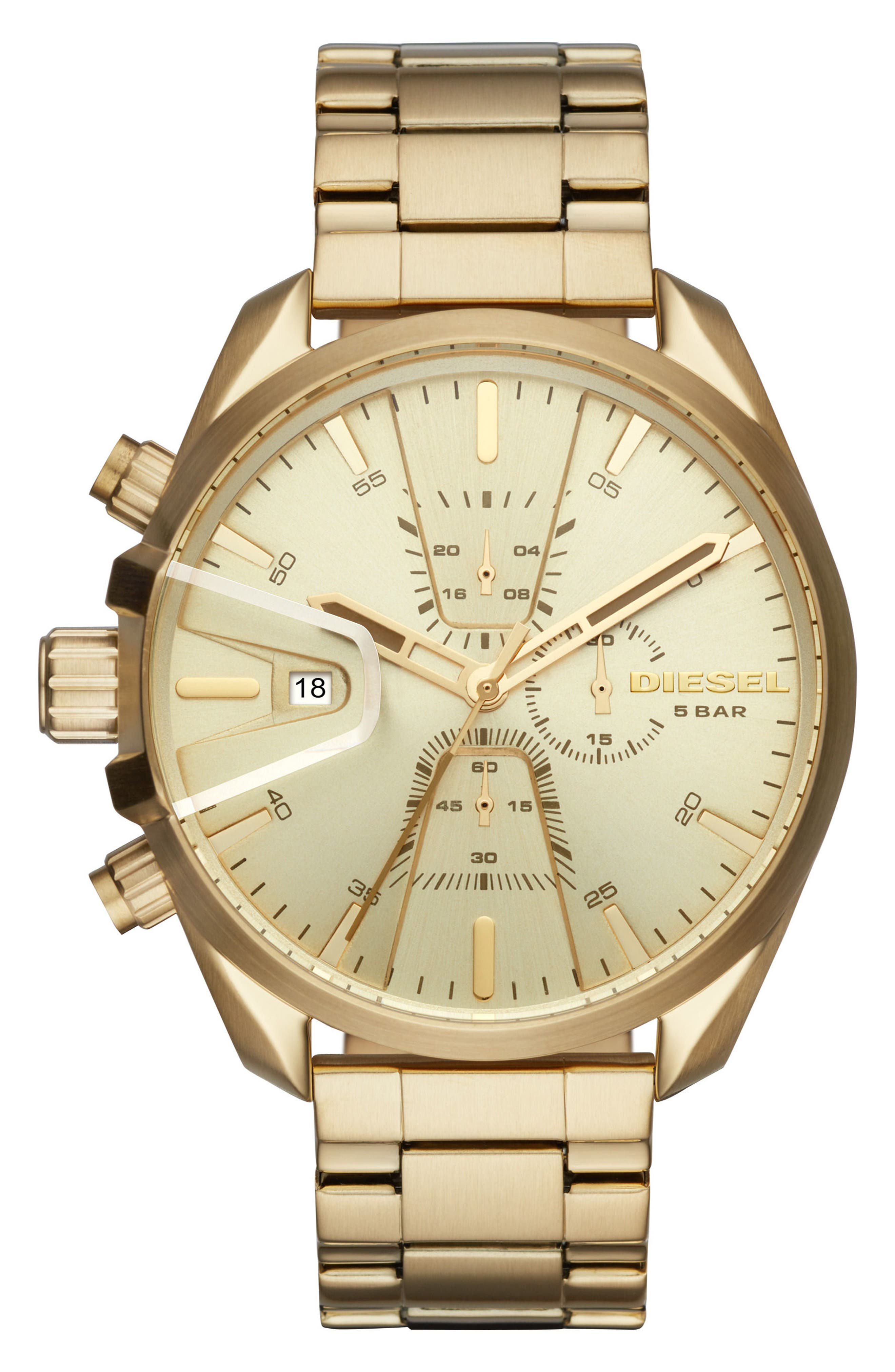 MS9 Chronograph Bracelet Watch, 47mm x 54mm,                             Main thumbnail 1, color,                             Gold/ Gold