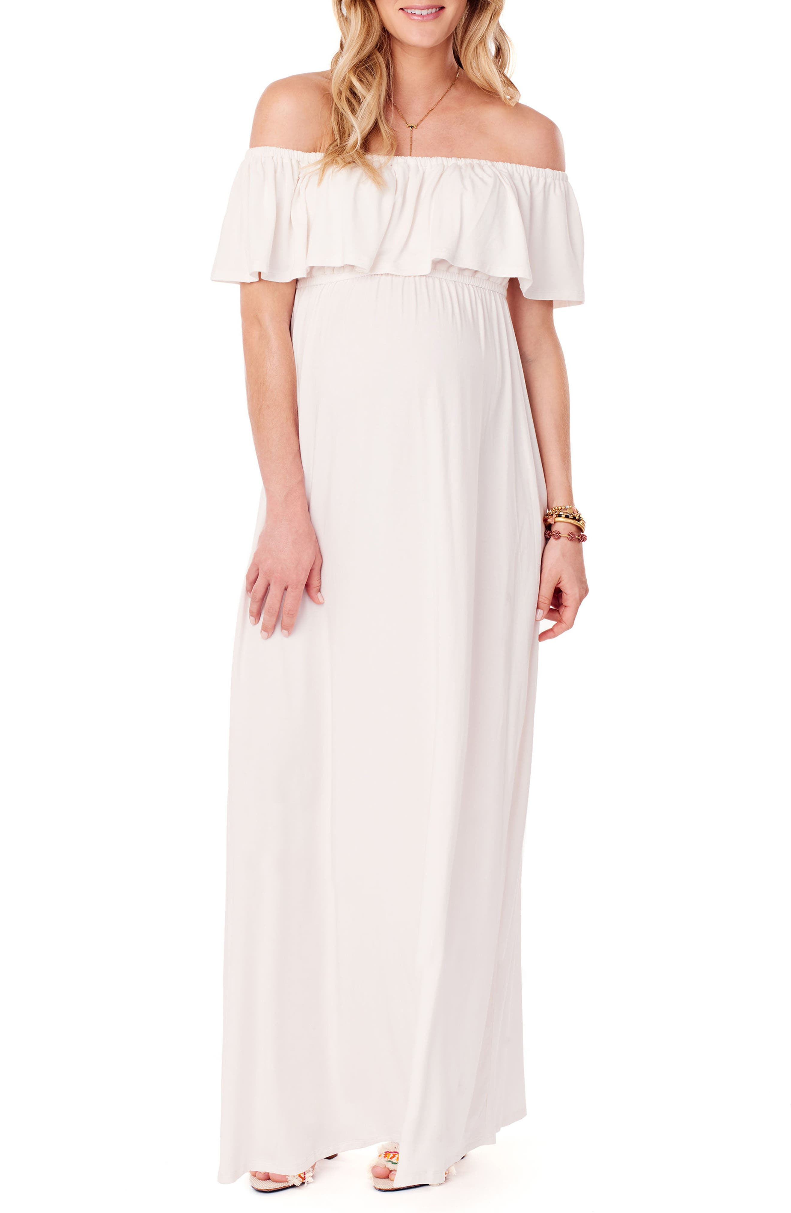 Off the Shoulder Maternity Maxi Dress,                         Main,                         color, Ivory