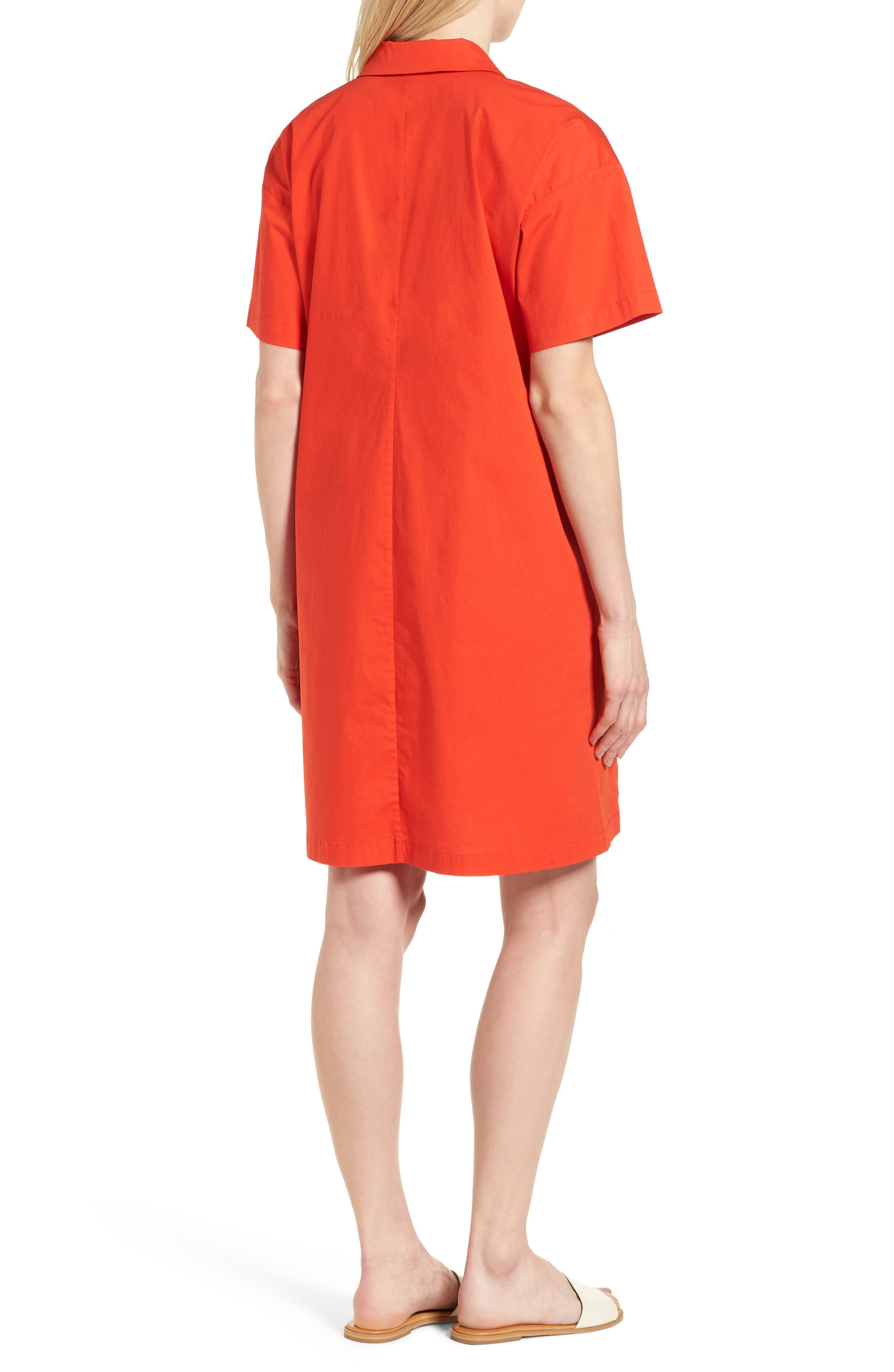 Organic Cotton Poplin Shirtdress,                             Alternate thumbnail 2, color,                             Hot Red