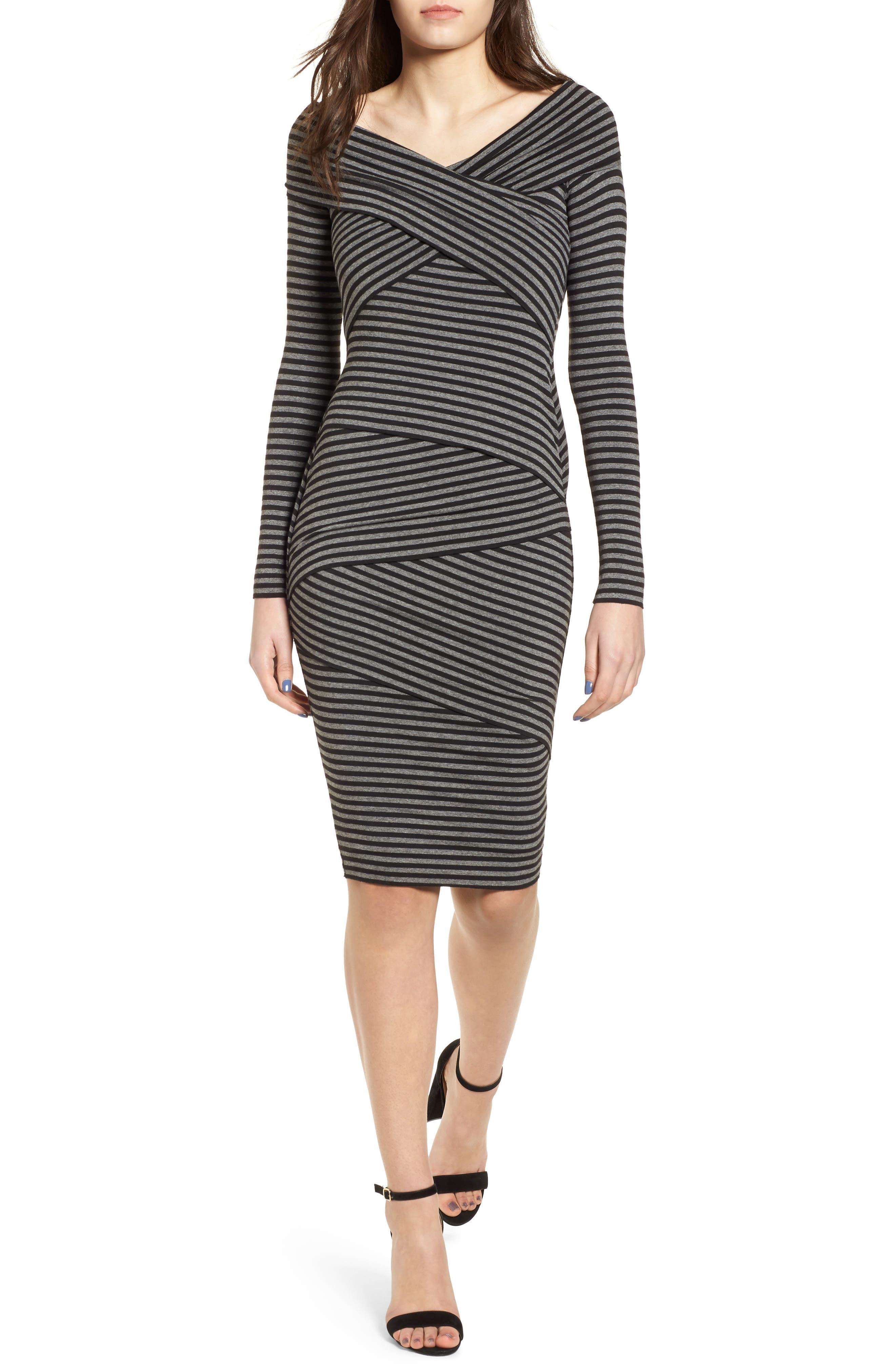 Edamame Body-Con Dress,                             Main thumbnail 1, color,                             Black Grey