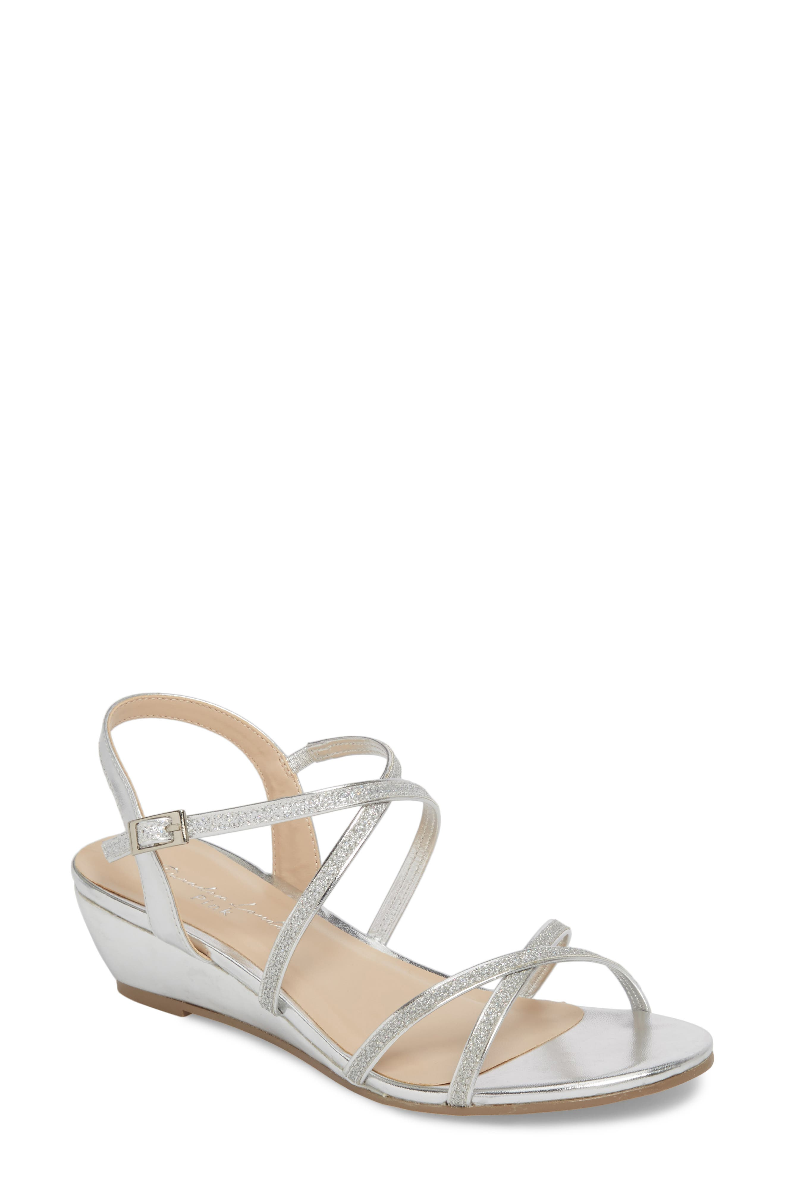 Kadie Wedge Sandal,                             Main thumbnail 1, color,                             Silver Glitter
