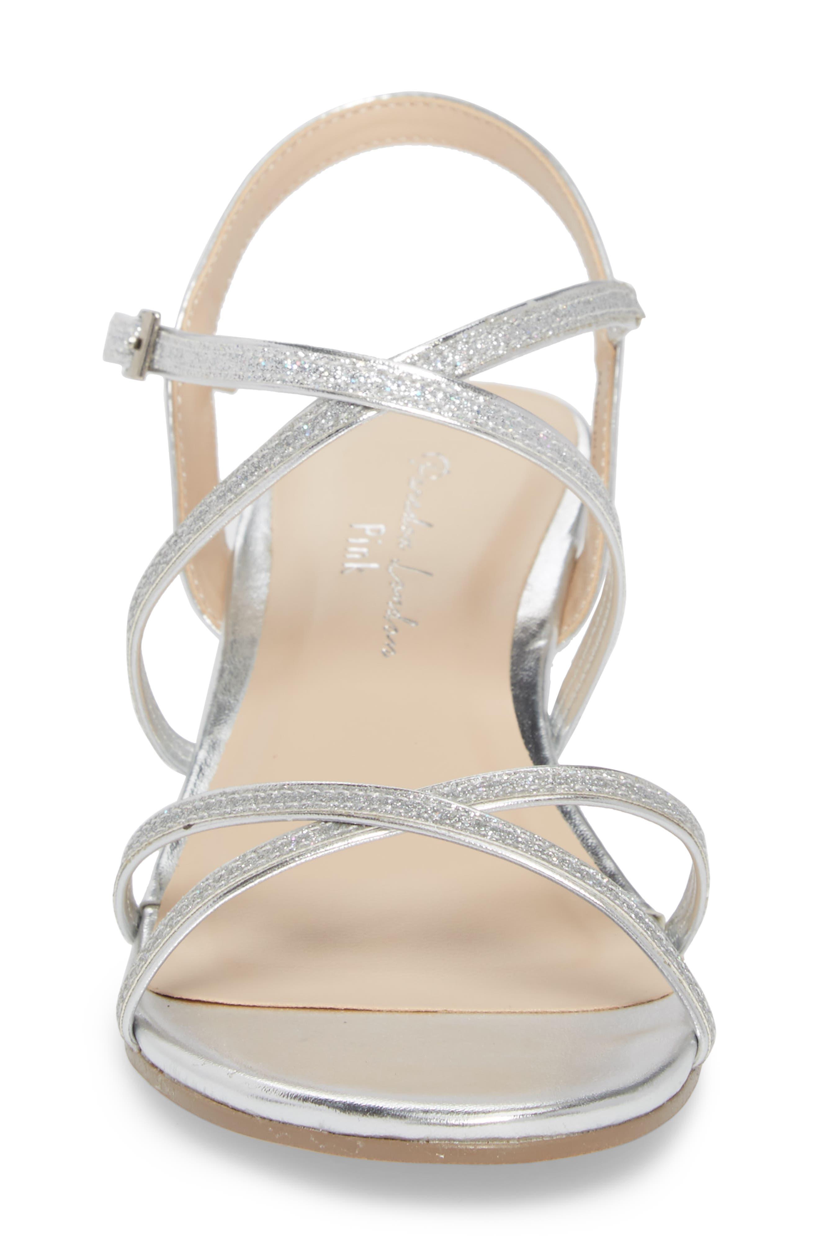 Kadie Wedge Sandal,                             Alternate thumbnail 4, color,                             Silver Glitter