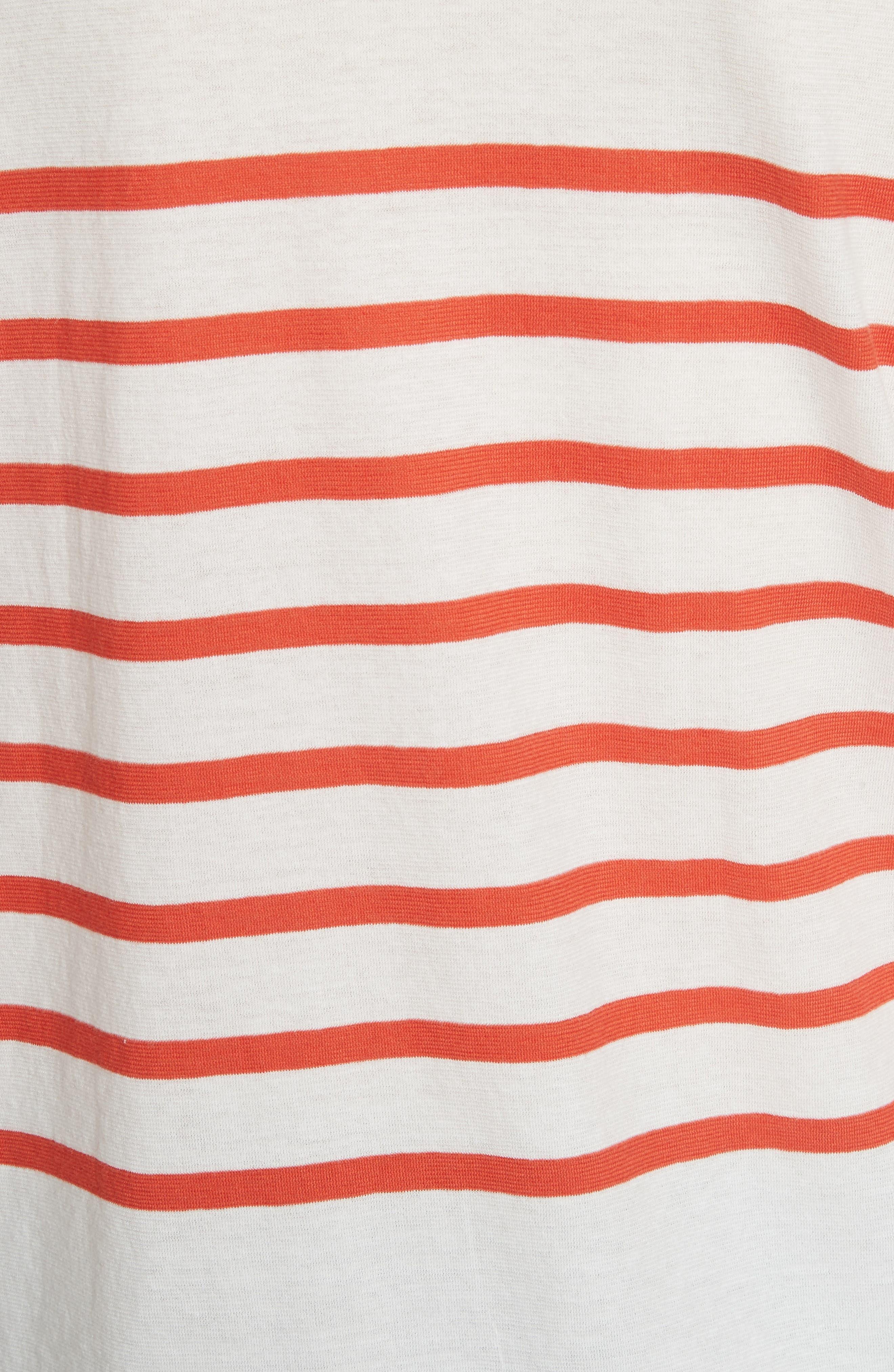The Malibu Stripe Tee,                             Alternate thumbnail 5, color,                             White/ Poppy