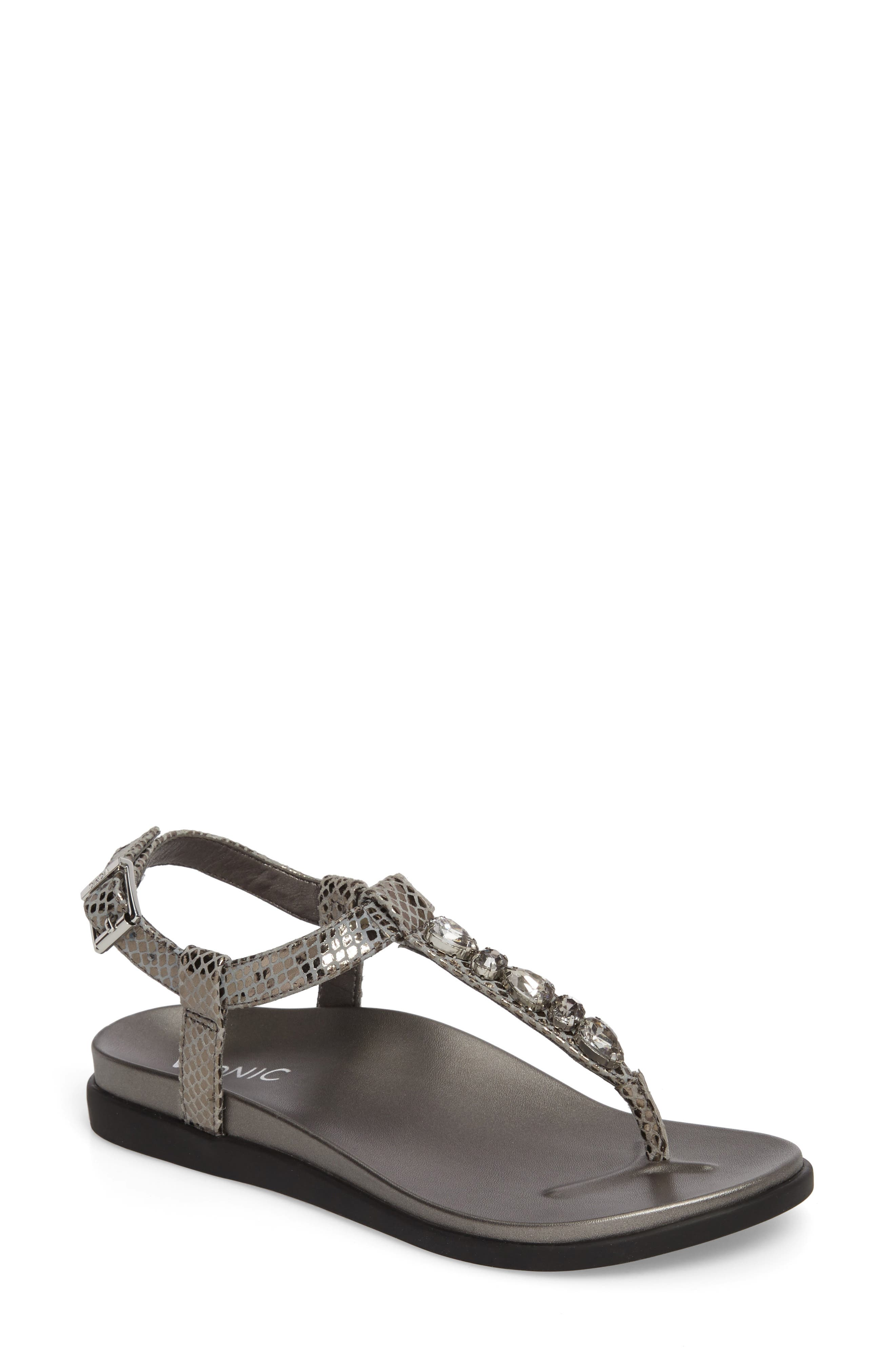 Boca Sandal,                             Main thumbnail 1, color,                             Pewter Snake Leather
