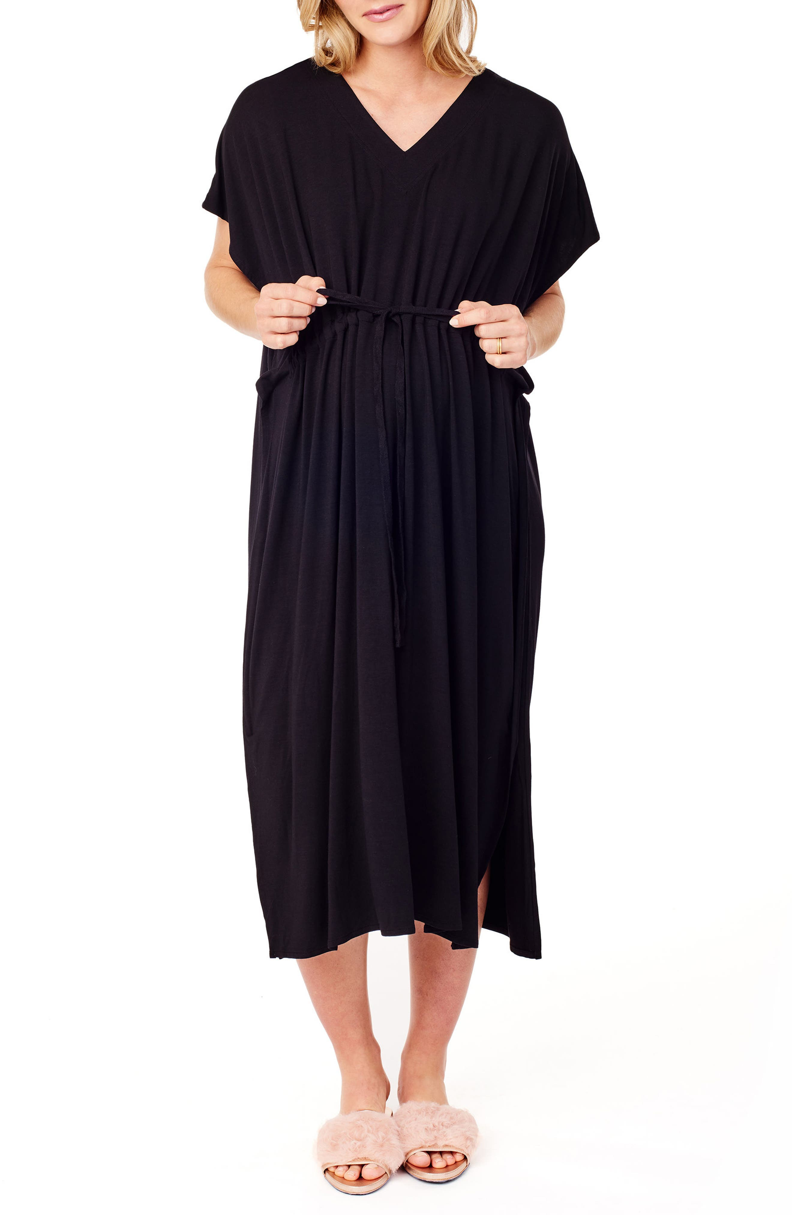 x James Fox & Co. Maternity/Nursing Hospital Gown,                             Main thumbnail 1, color,                             Jet Black