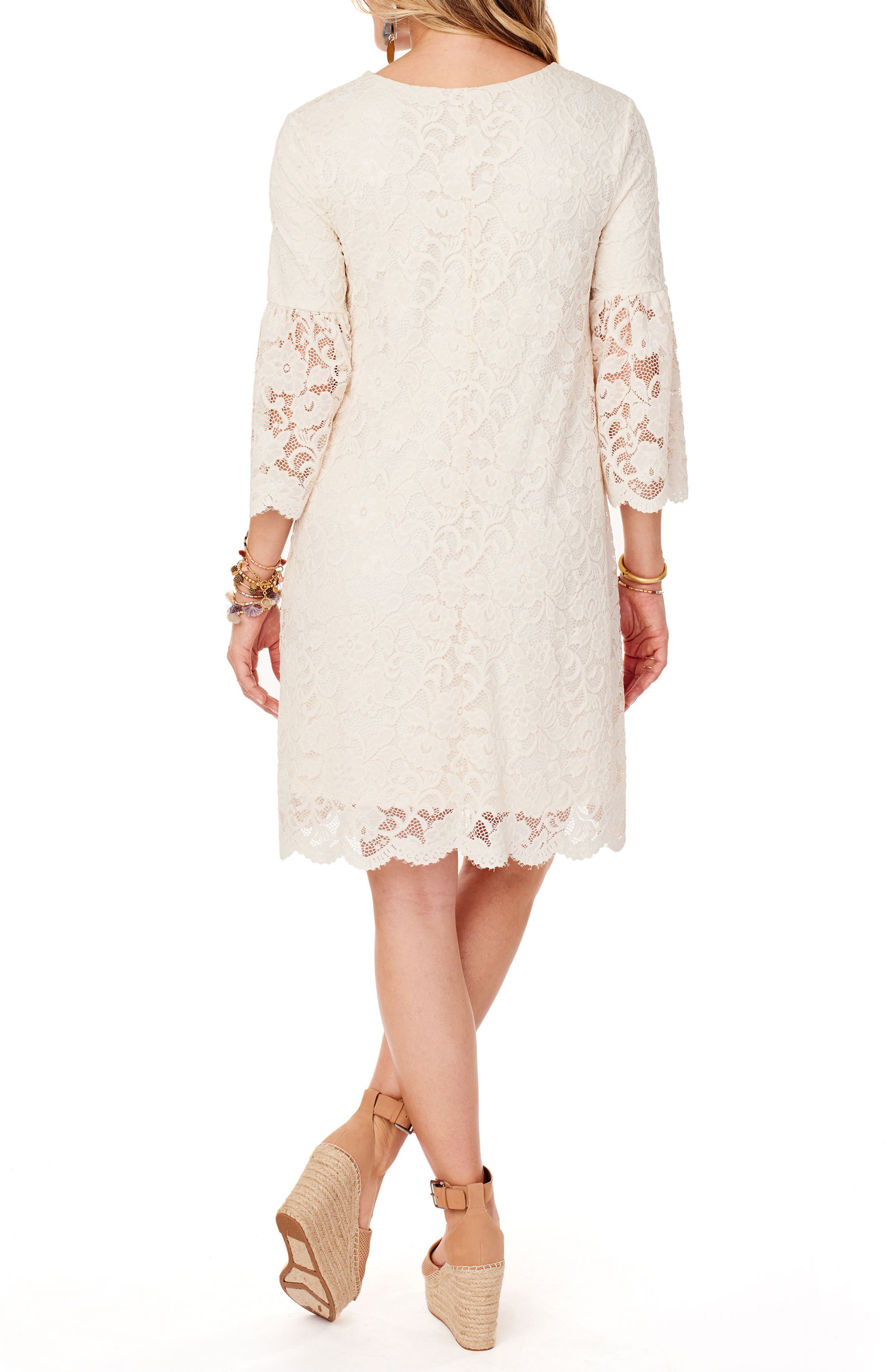 Lace Bell Sleeve Maternity Dress,                             Alternate thumbnail 2, color,                             Ivory