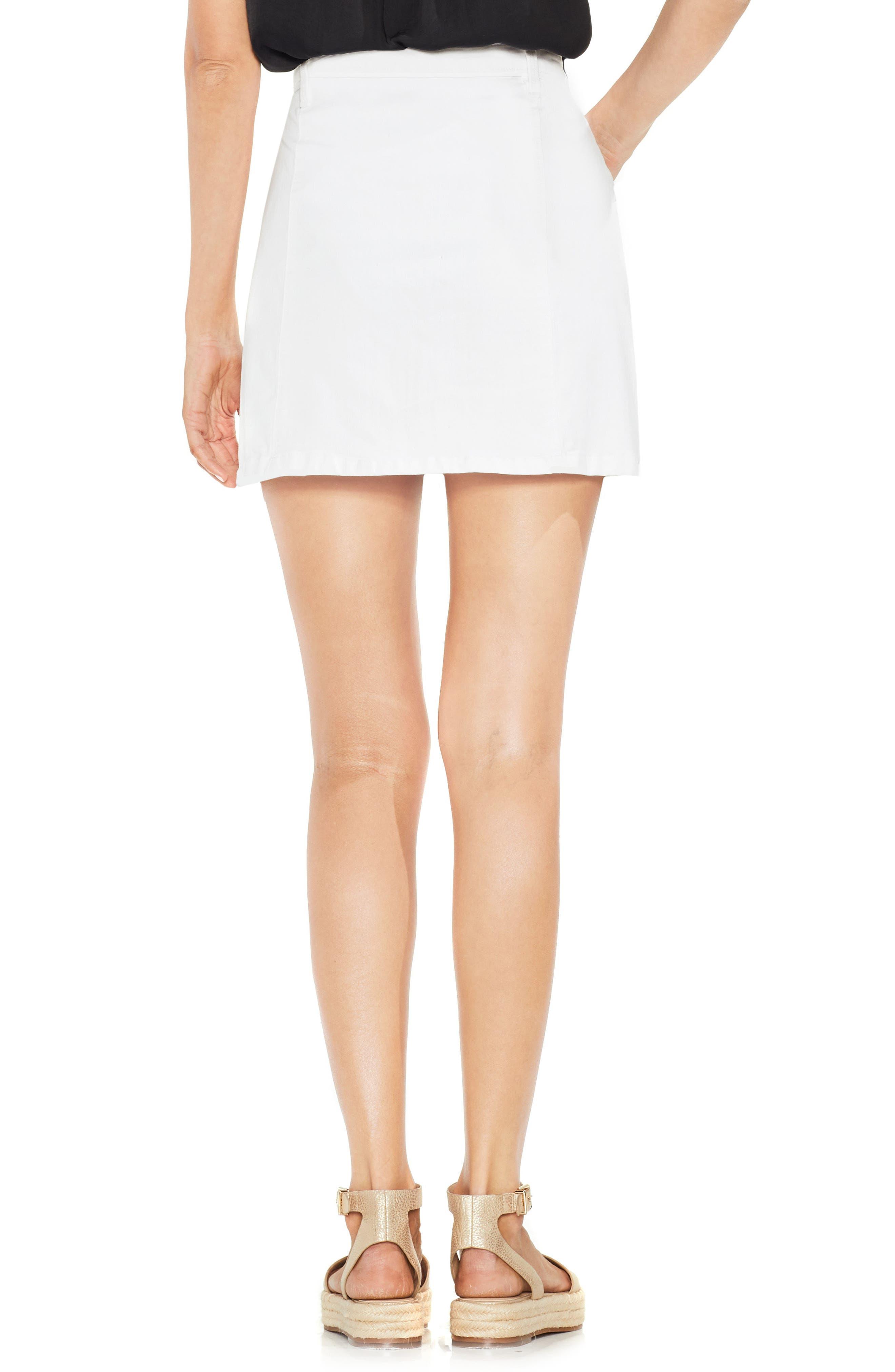 Lace-Up Stretch Cotton Mini Skirt,                             Alternate thumbnail 2, color,                             Ultra White