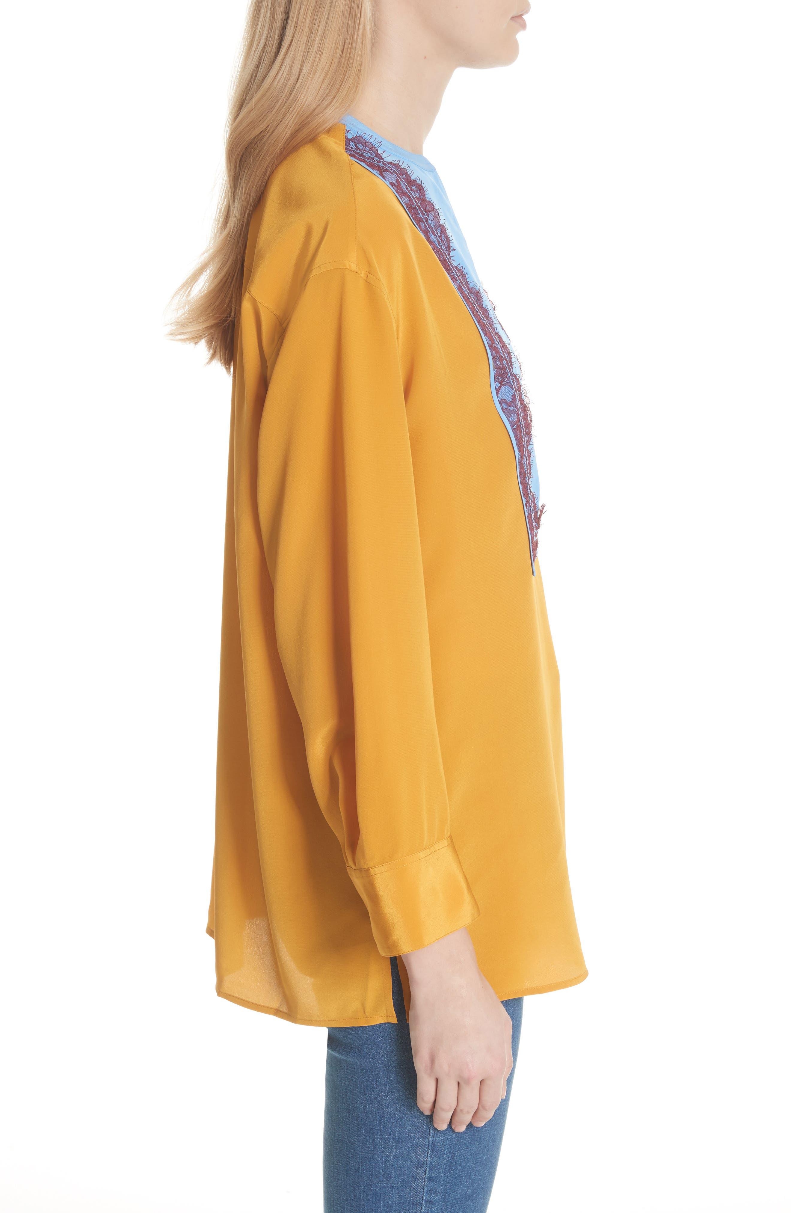 Colorblock Silk Tunic,                             Alternate thumbnail 3, color,                             Golden Age