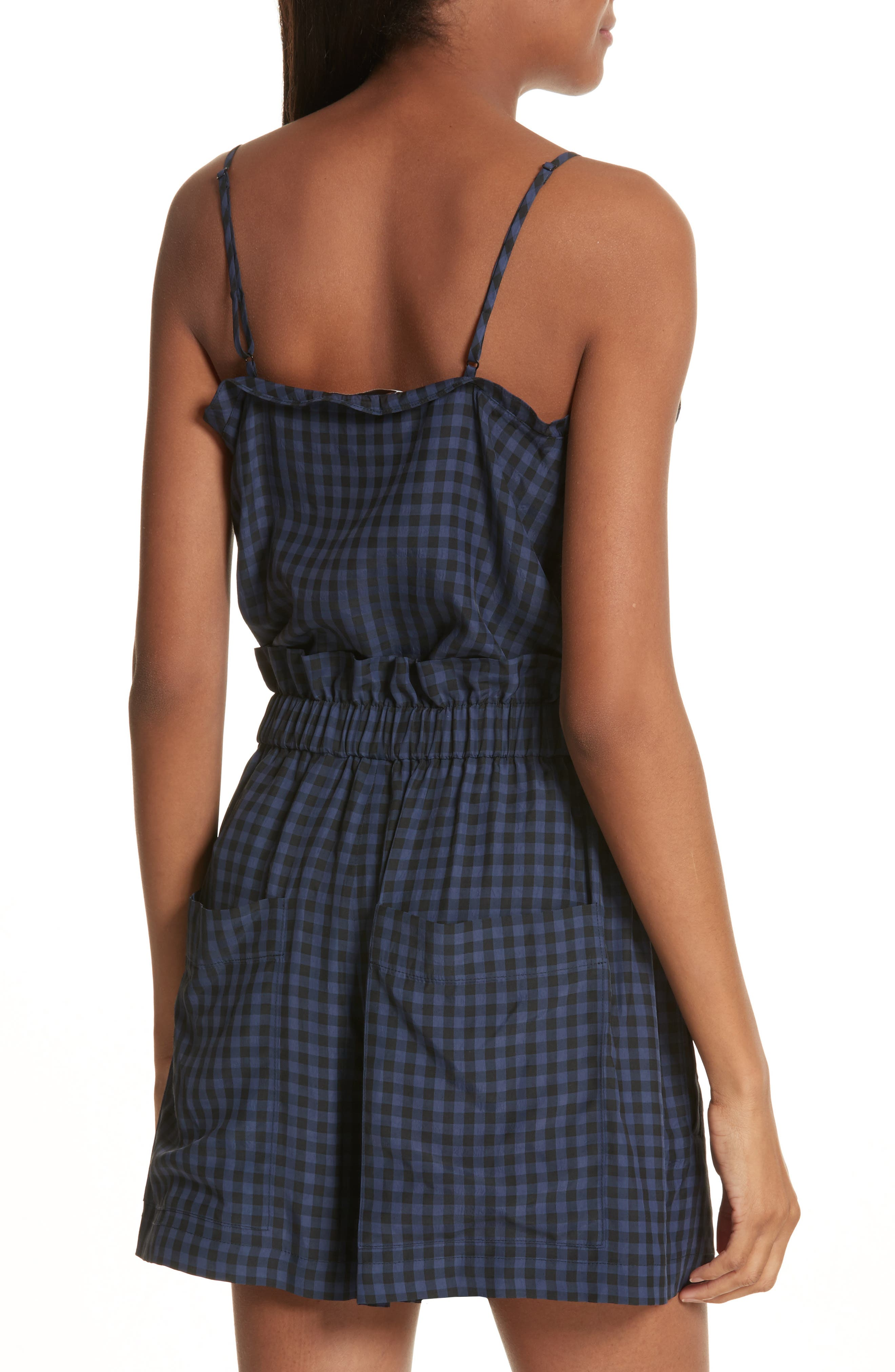 Ruffled Gingham Camisole,                             Alternate thumbnail 2, color,                             Navy Multi