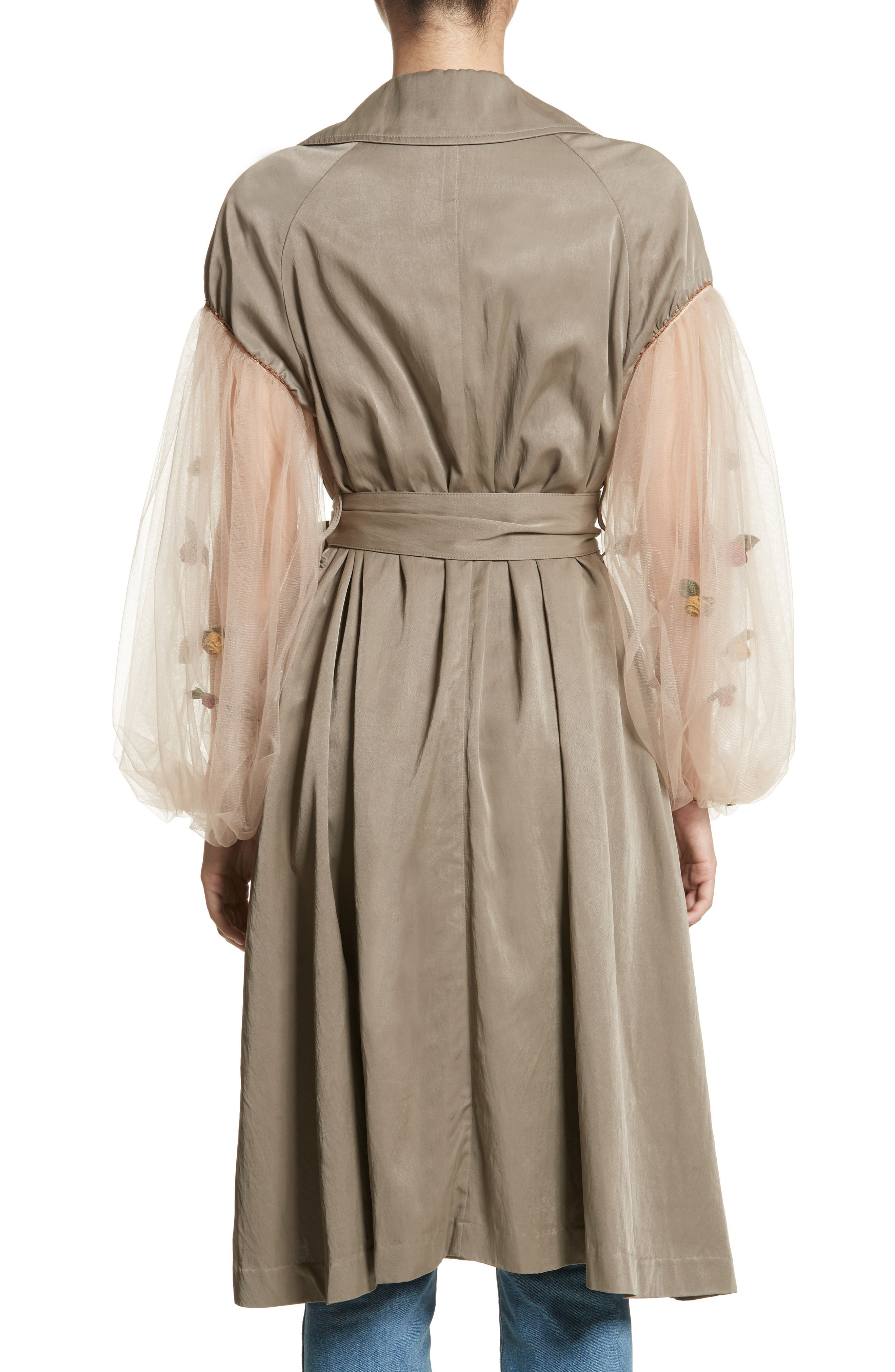 Rose Embroidered Tulle Sleeve Trench Coat,                             Alternate thumbnail 2, color,                             Beige