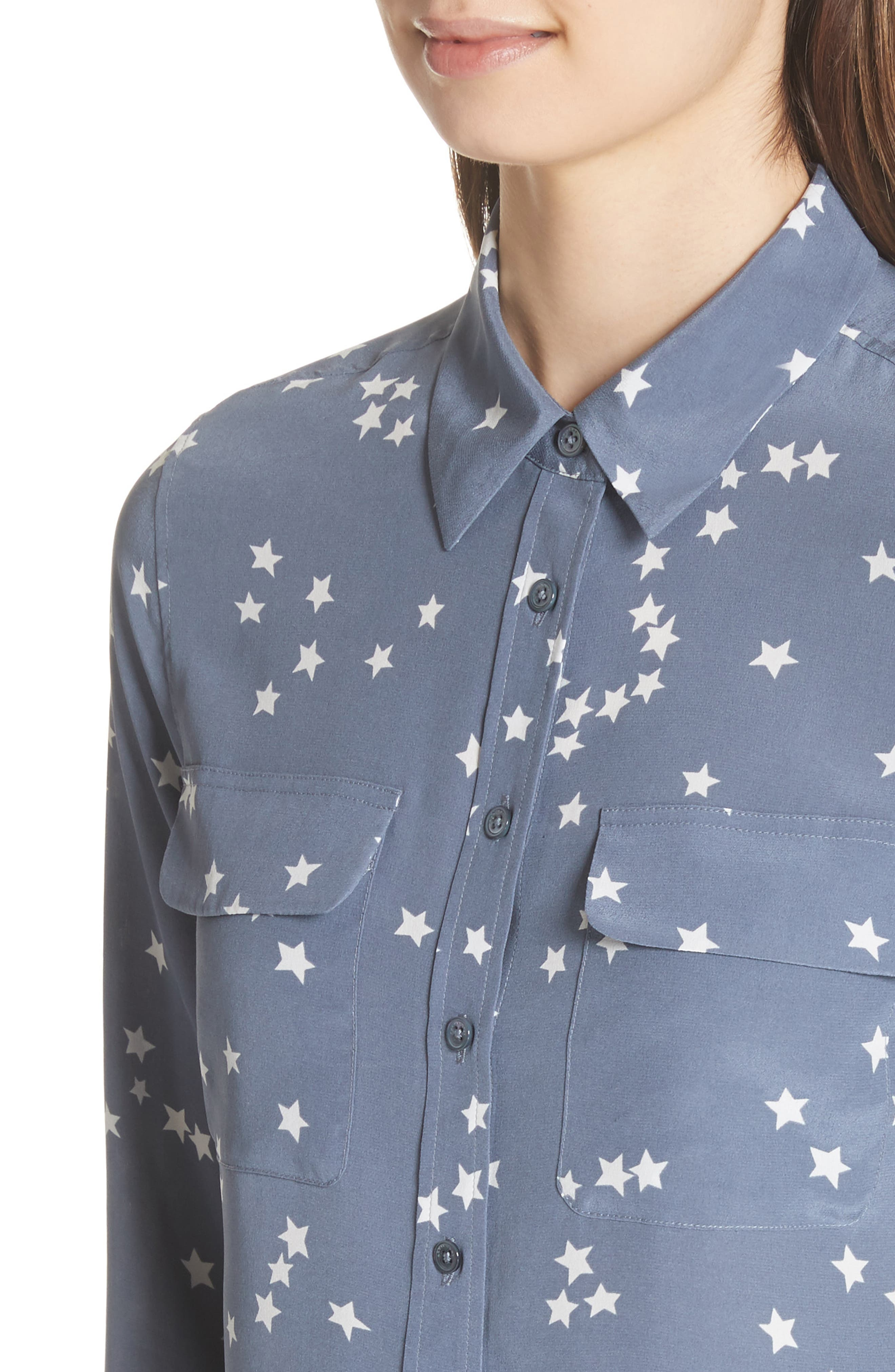 'Starry Night' Silk Shirt,                             Alternate thumbnail 4, color,                             Bluestone