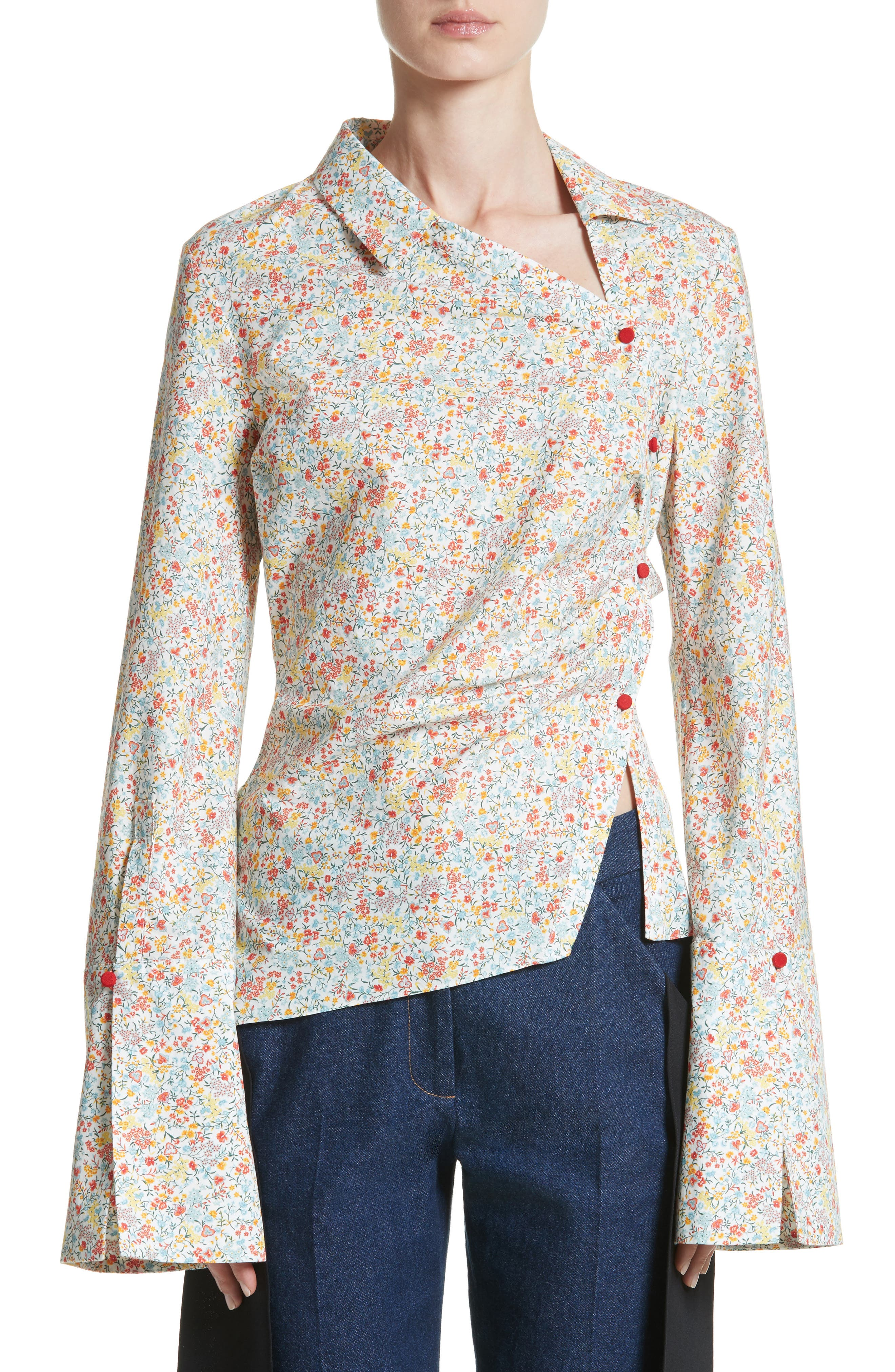 Wyatt Asymmetrical Cotton Blouse,                         Main,                         color, Multicolor