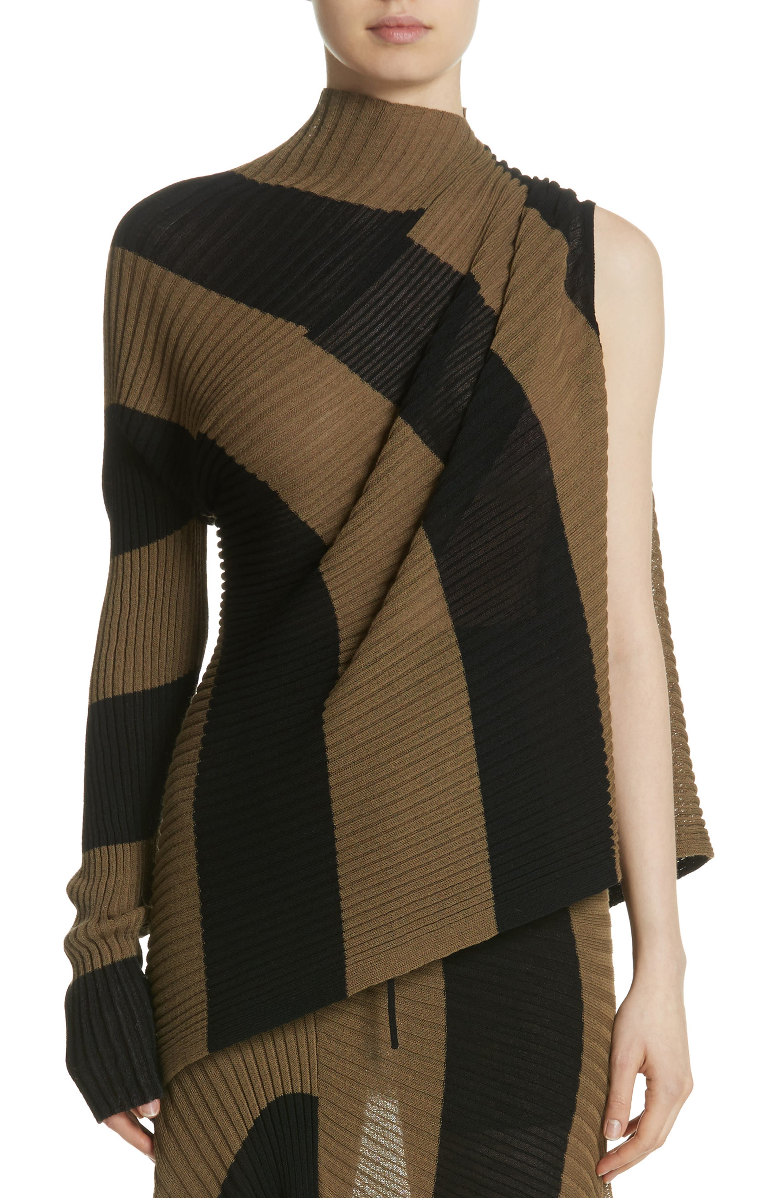 Marques'Almeida Draped One Sleeve Sweater,                             Main thumbnail 1, color,                             Khaki/ Black