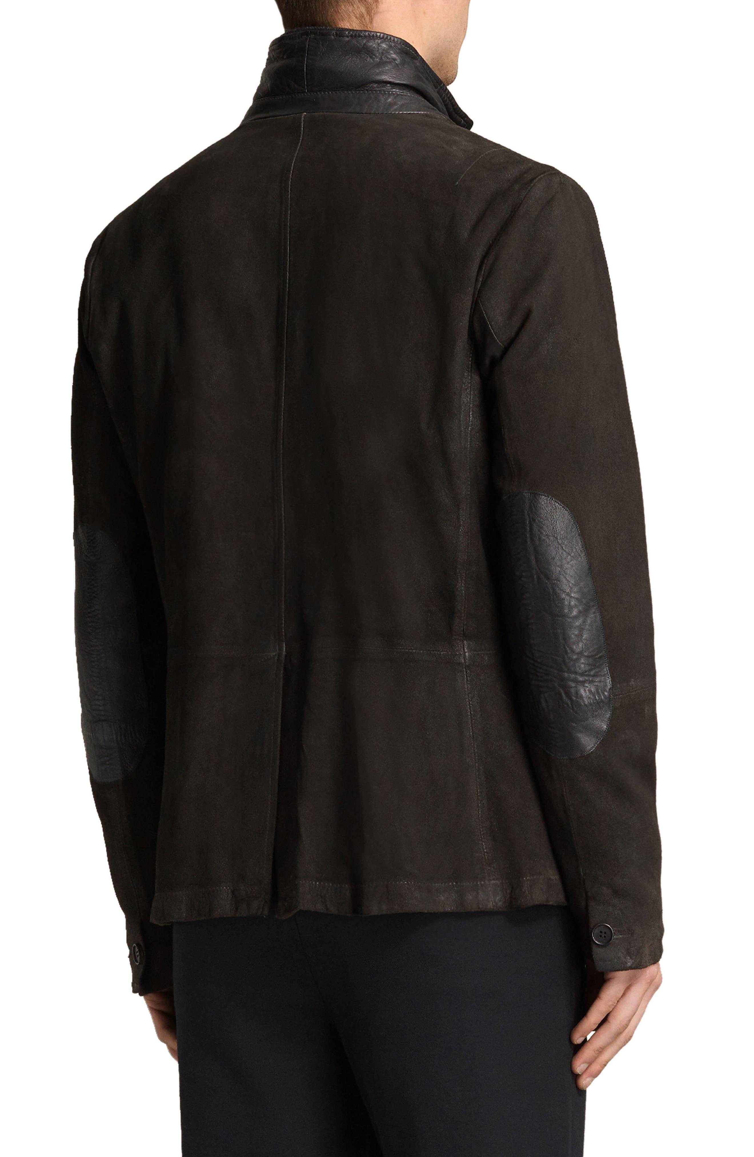 Survey Leather Blazer,                             Alternate thumbnail 2, color,                             Anthracite Grey