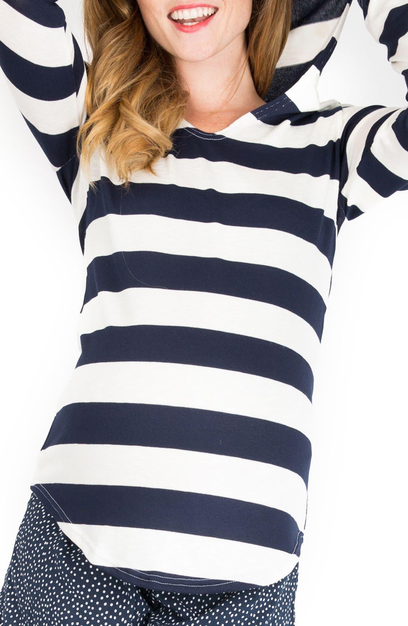 'Aria' Maternity Hoodie,                         Main,                         color, Navy Stripe