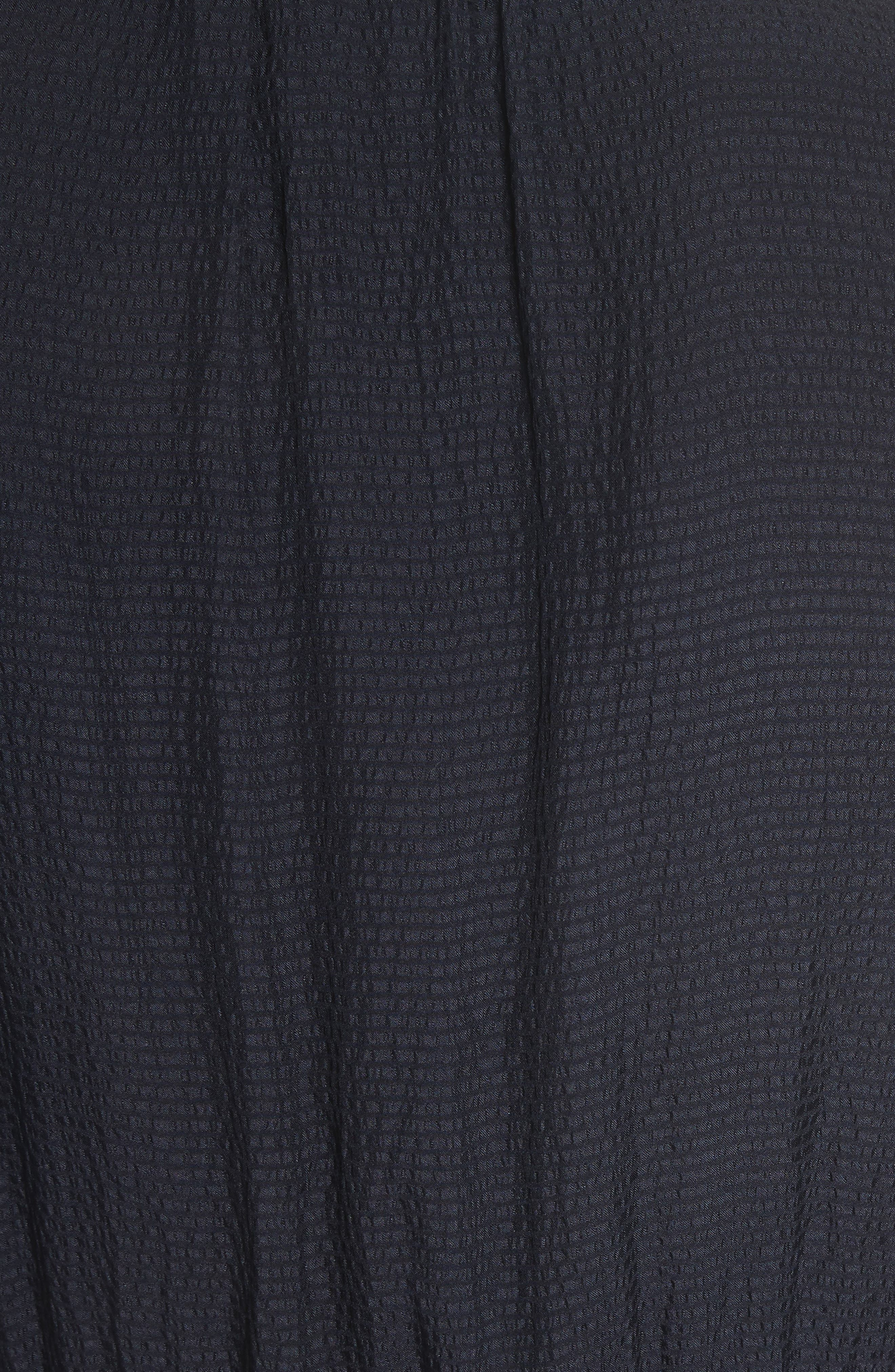 Tie Front Silk Shirtdress,                             Alternate thumbnail 5, color,                             Dark Navy