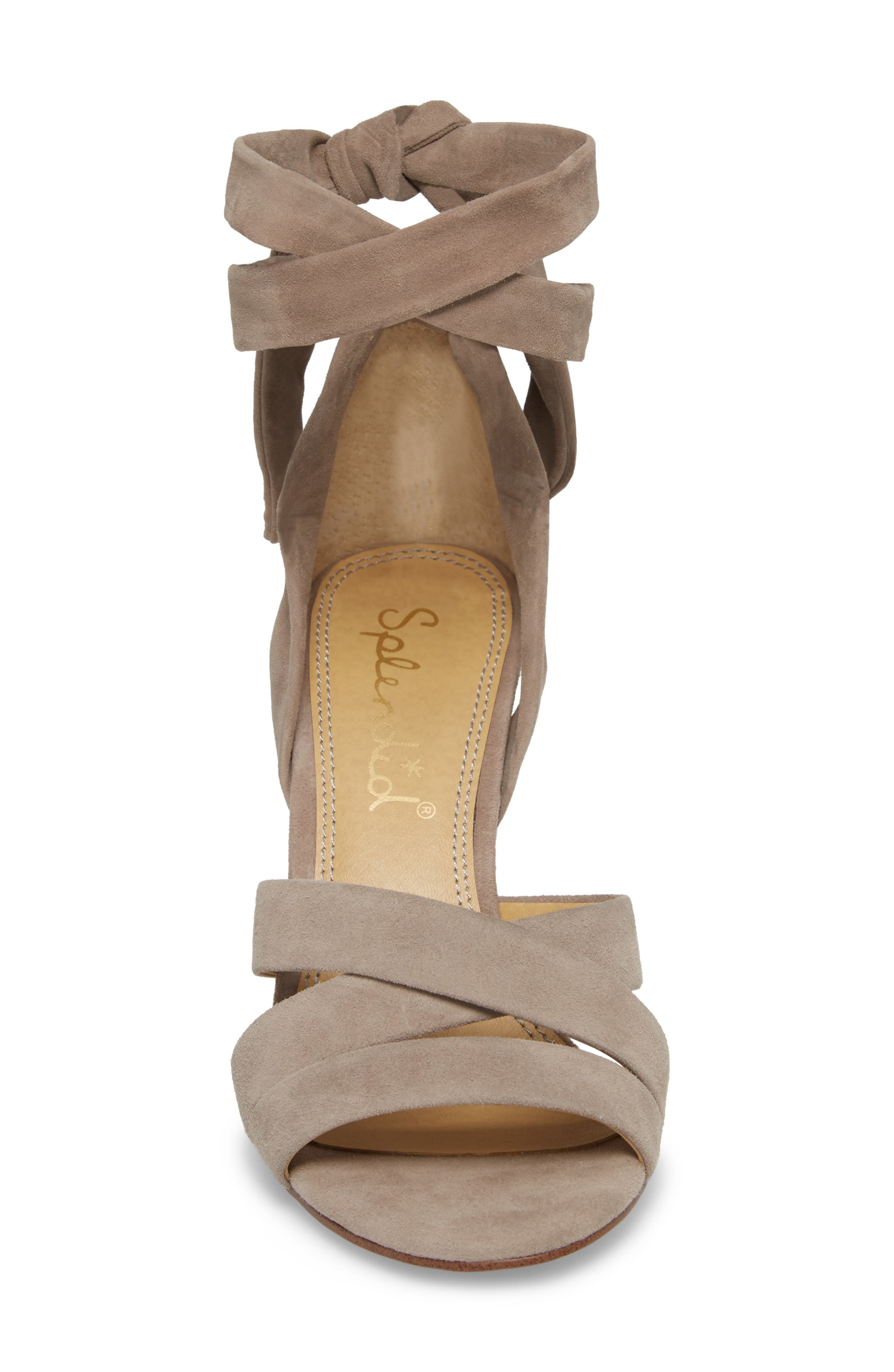 Fergie Lace-Up Sandal,                             Alternate thumbnail 5, color,                             Taupe Suede
