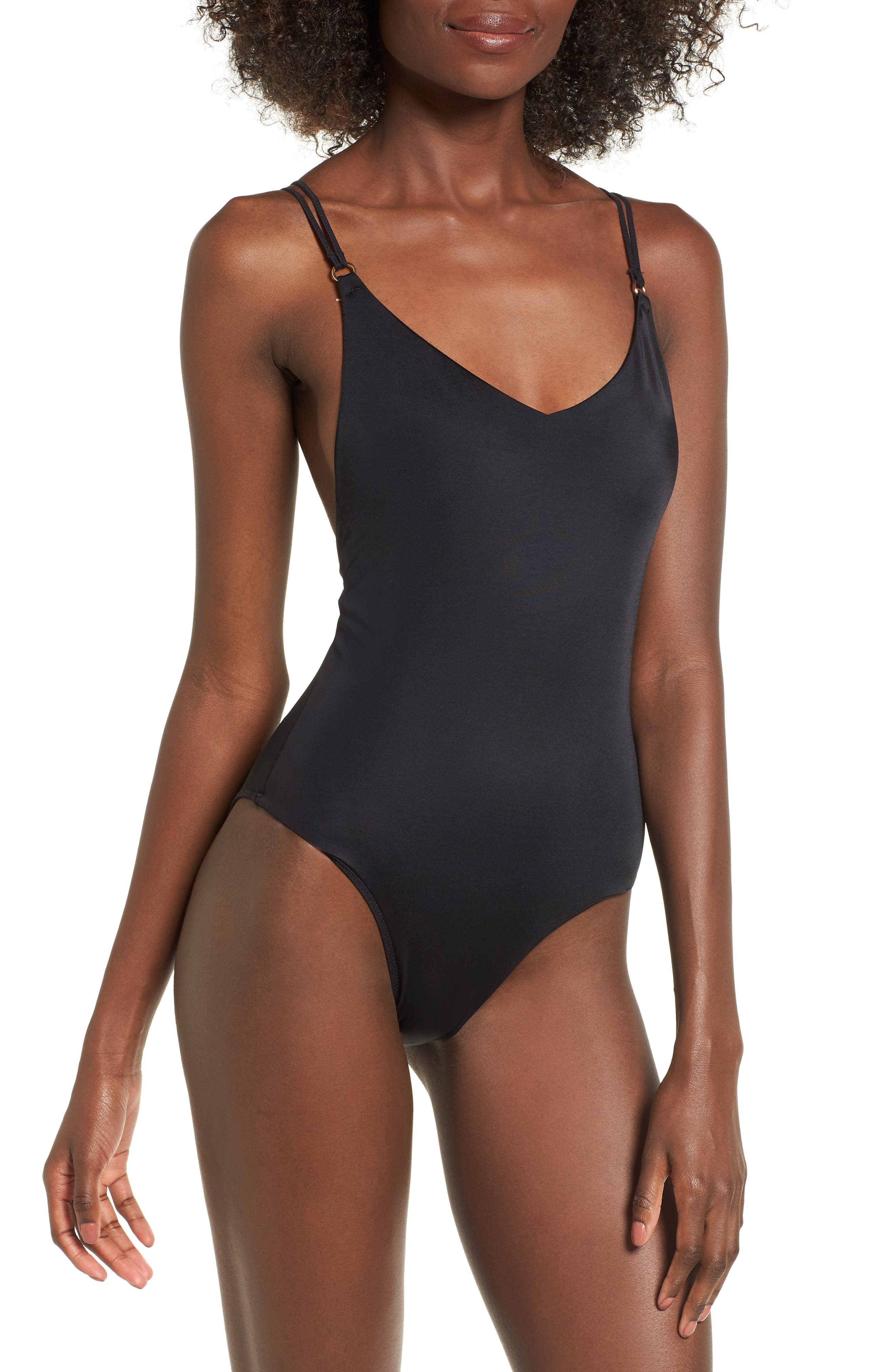 Strappy One-Piece Swimsuit,                         Main,                         color, Black