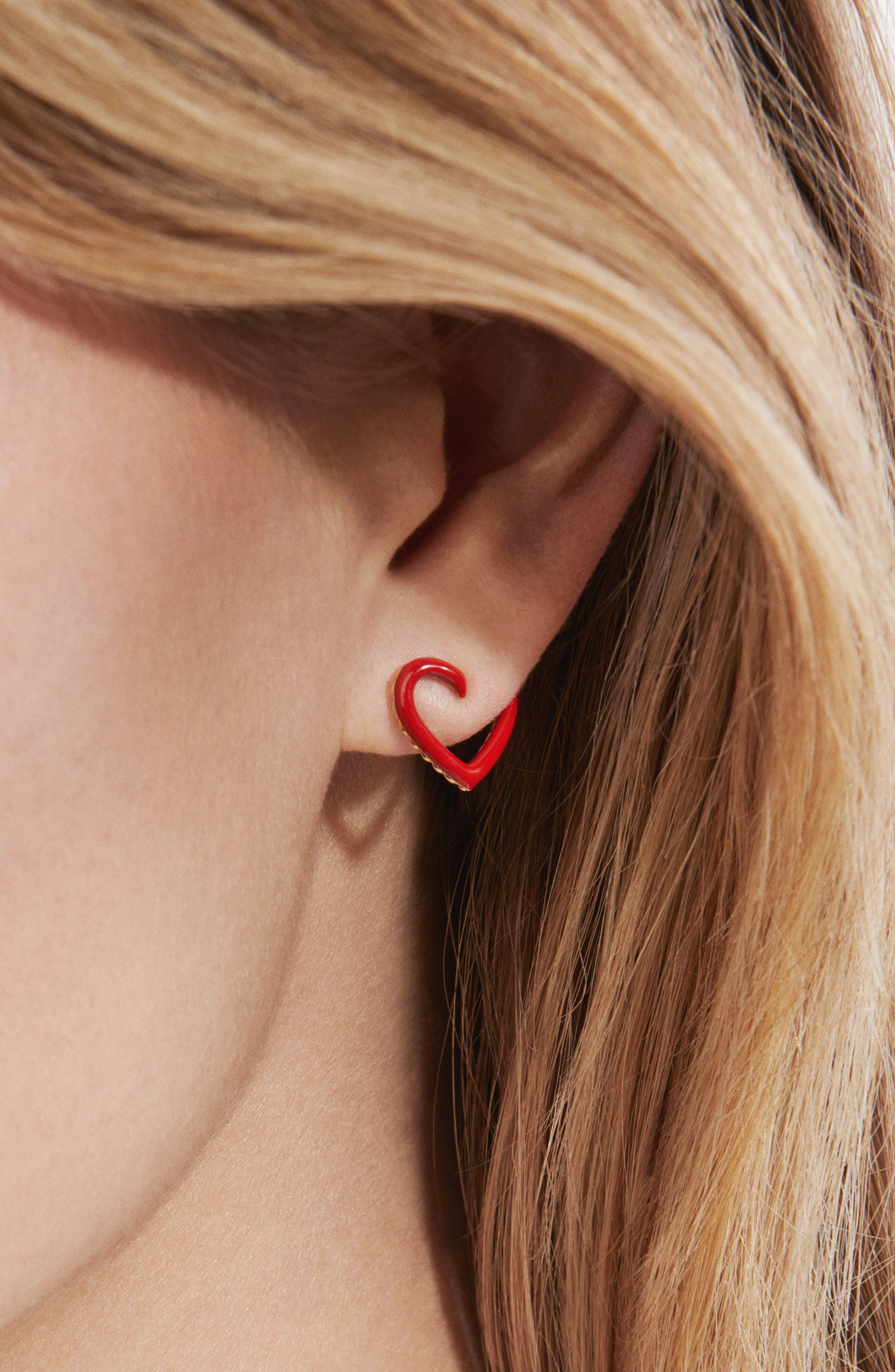 Cable Heart Earrings in Red Enamel and 18K Gold,                             Alternate thumbnail 3, color,