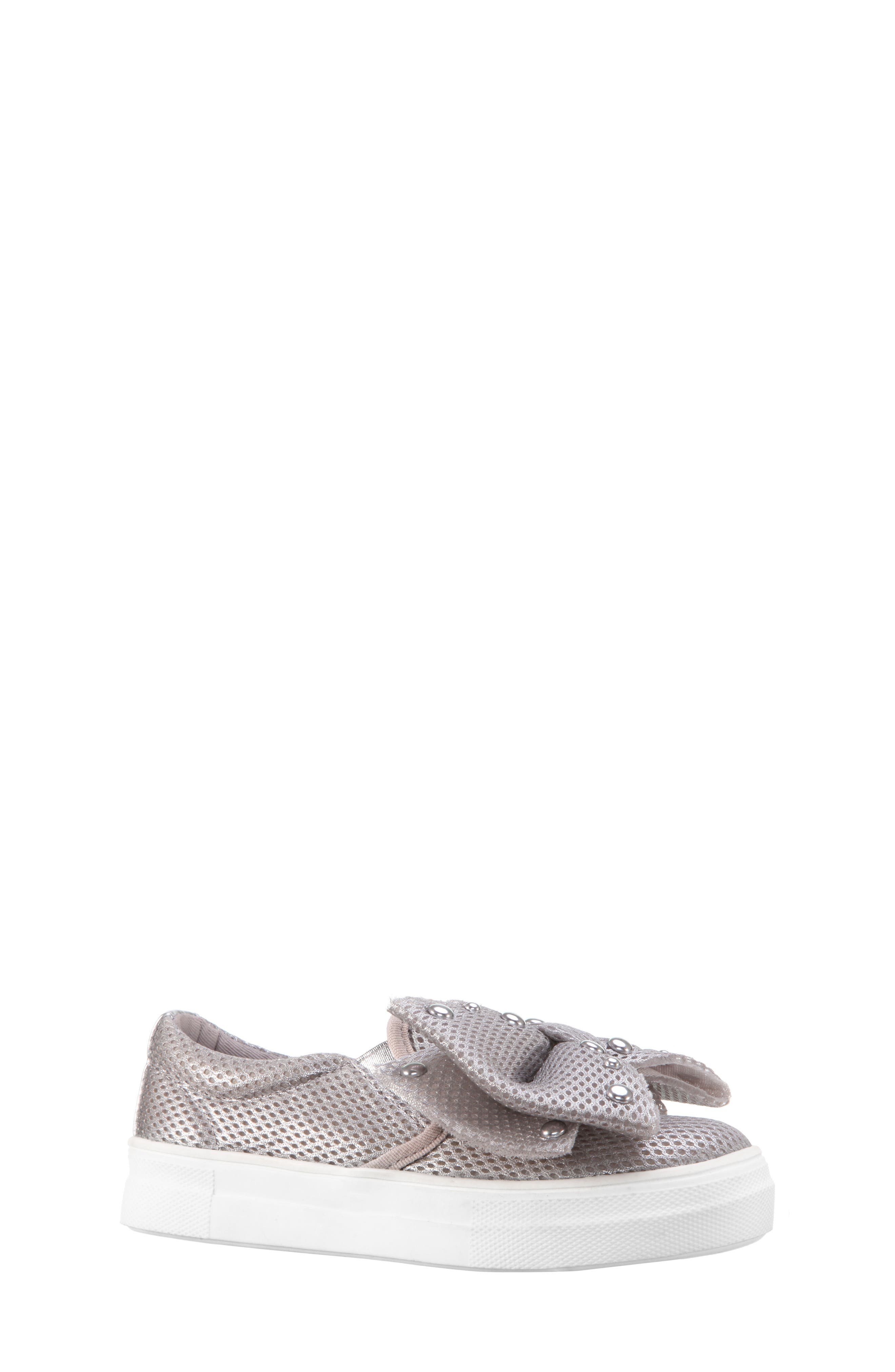 Mary Bow Slip-On Sneaker,                             Main thumbnail 1, color,                             Silver Mesh
