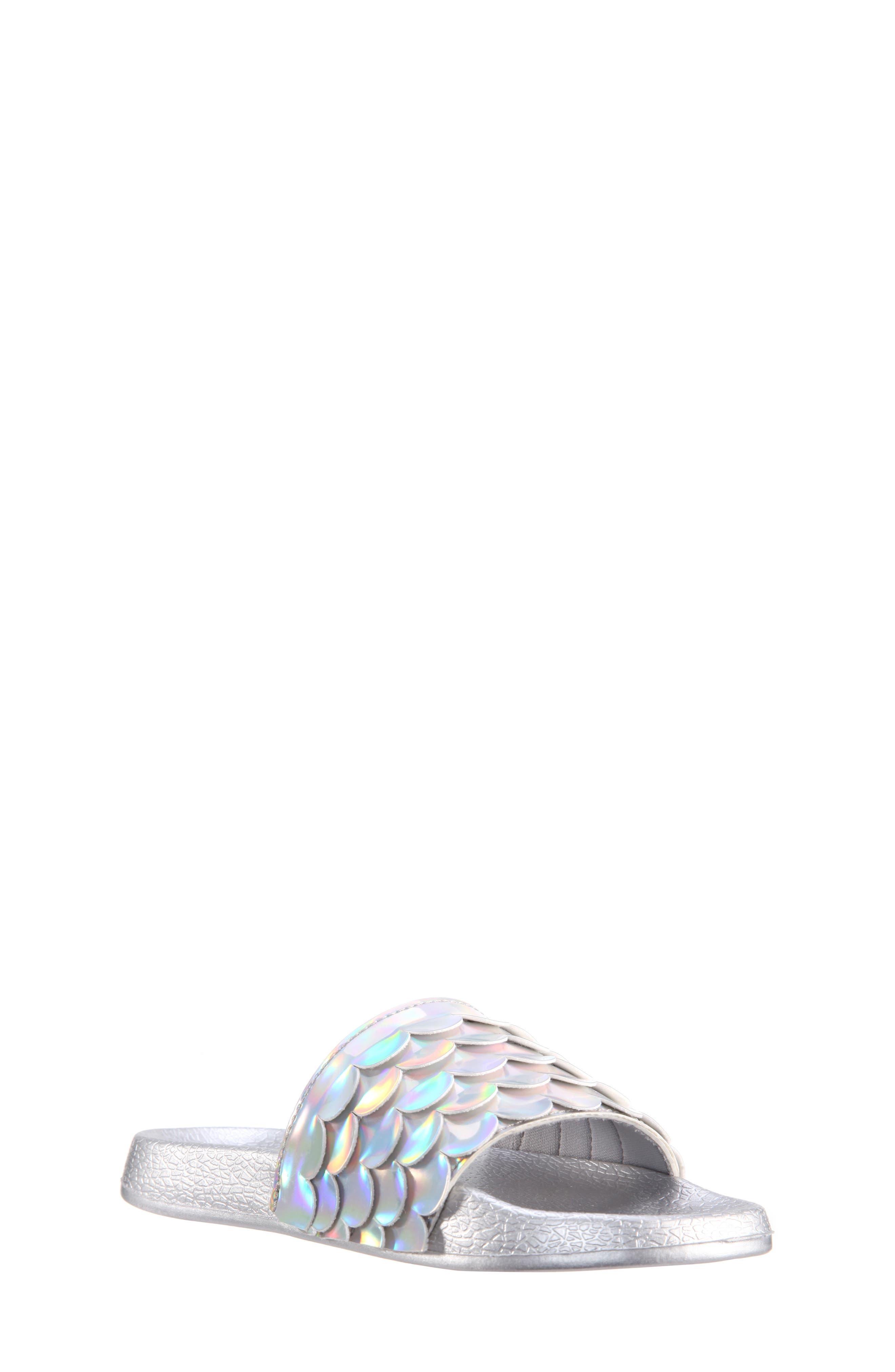 Mermaid Sport Slide Sandal,                         Main,                         color, Silver Mirror Metallic