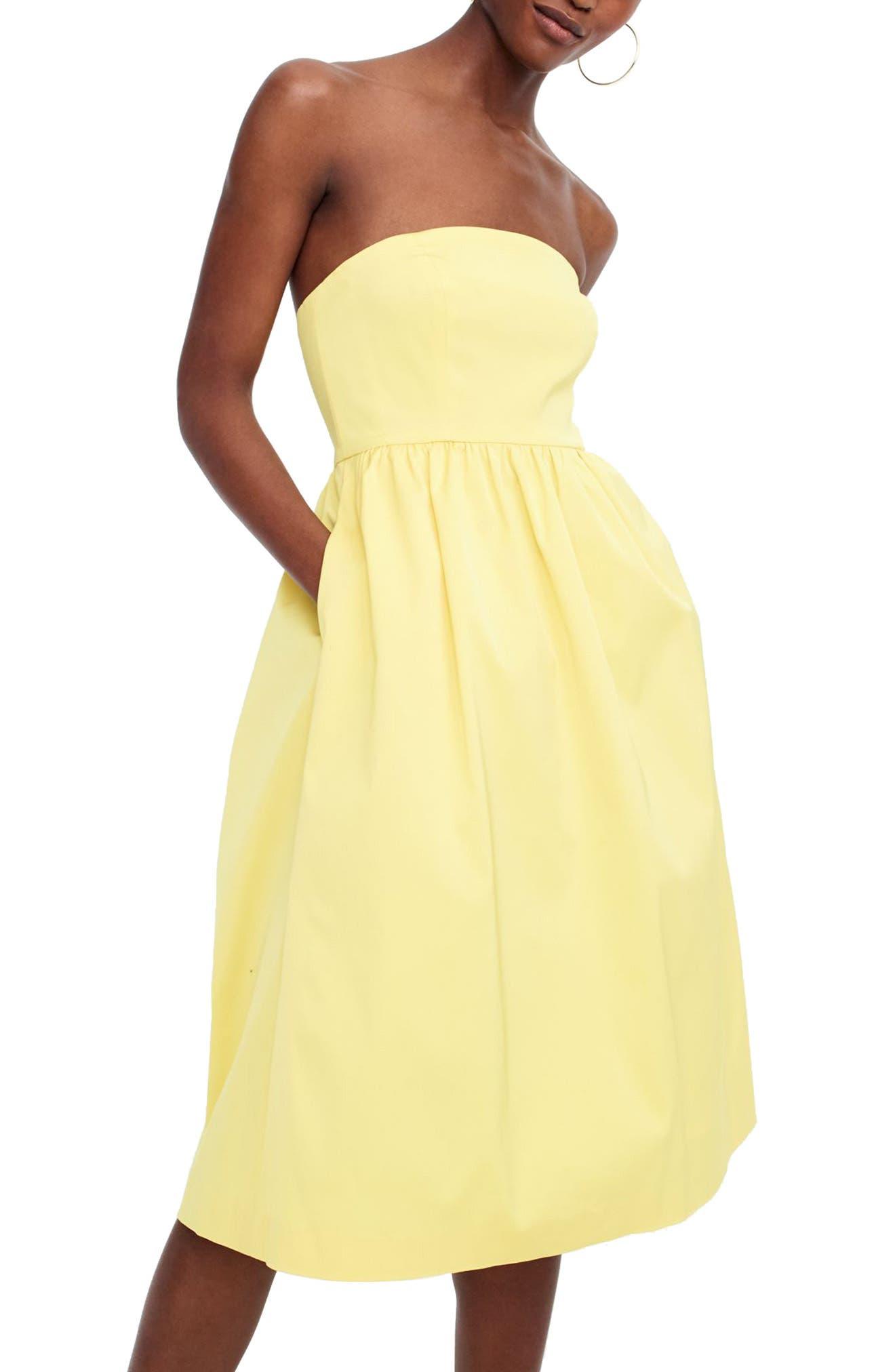 J.Crew Strapless Fit & Flare Dress,                         Main,                         color, Bright Lemon