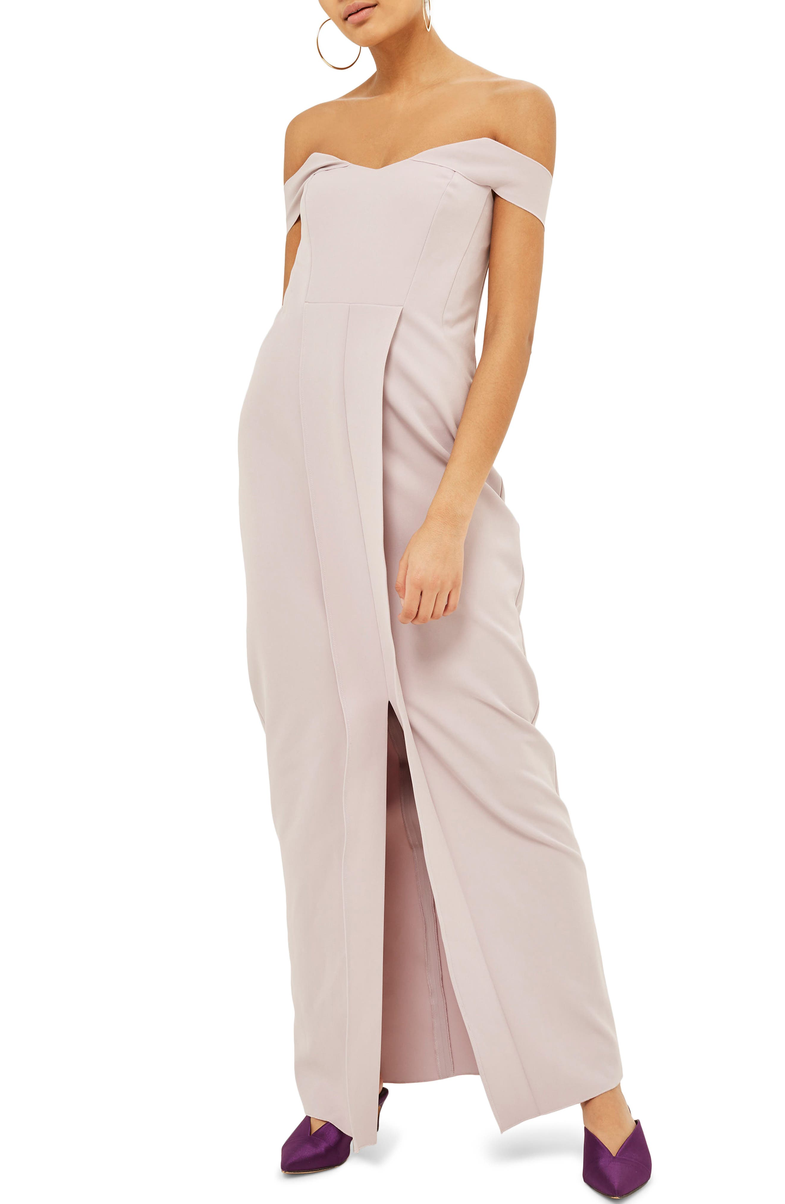 Off the Shoulder Crepe Dress,                             Main thumbnail 1, color,                             Lilac