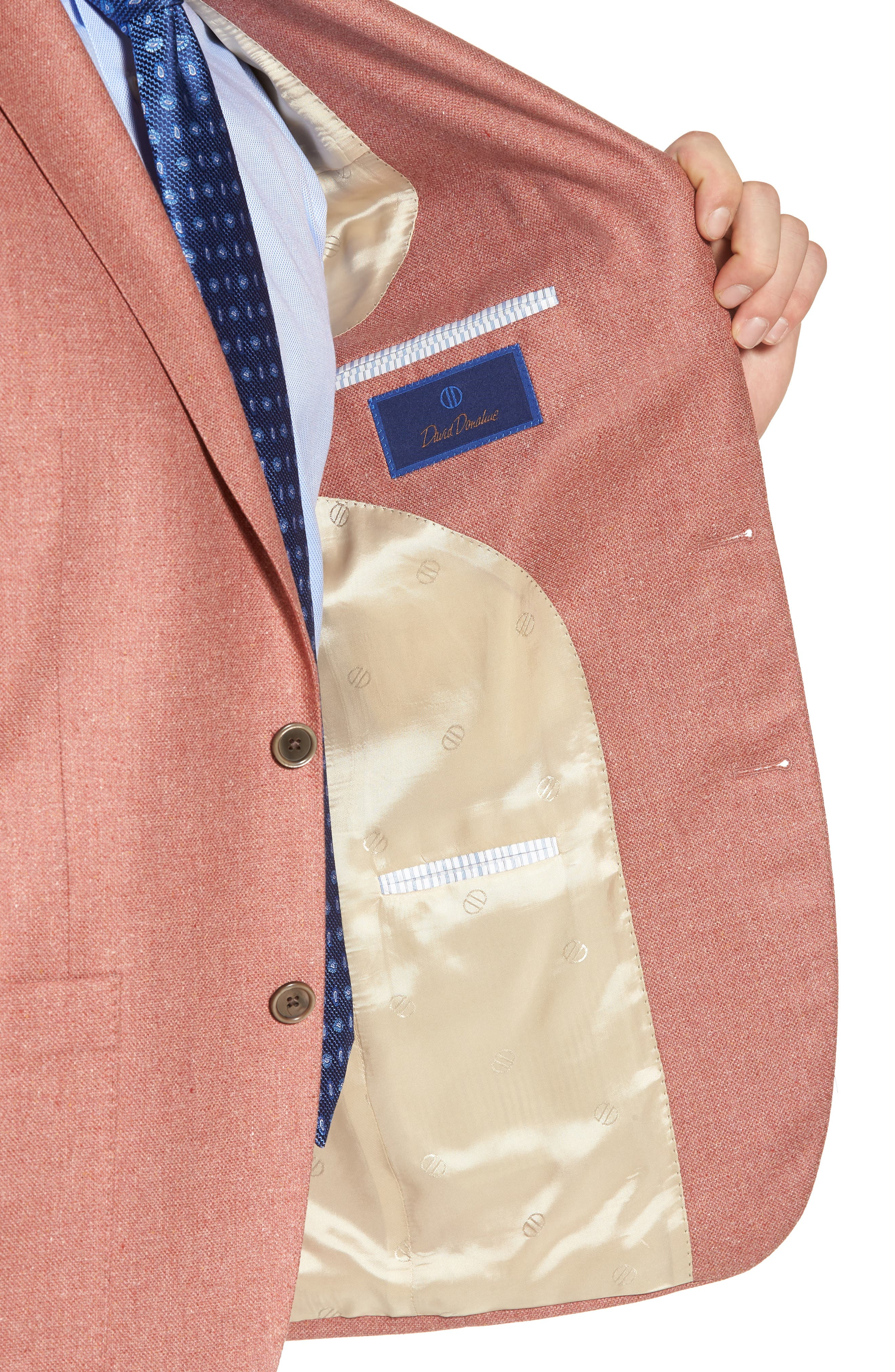 Aiden Classic Fit Silk & Wool Blazer,                             Alternate thumbnail 4, color,                             Salmon