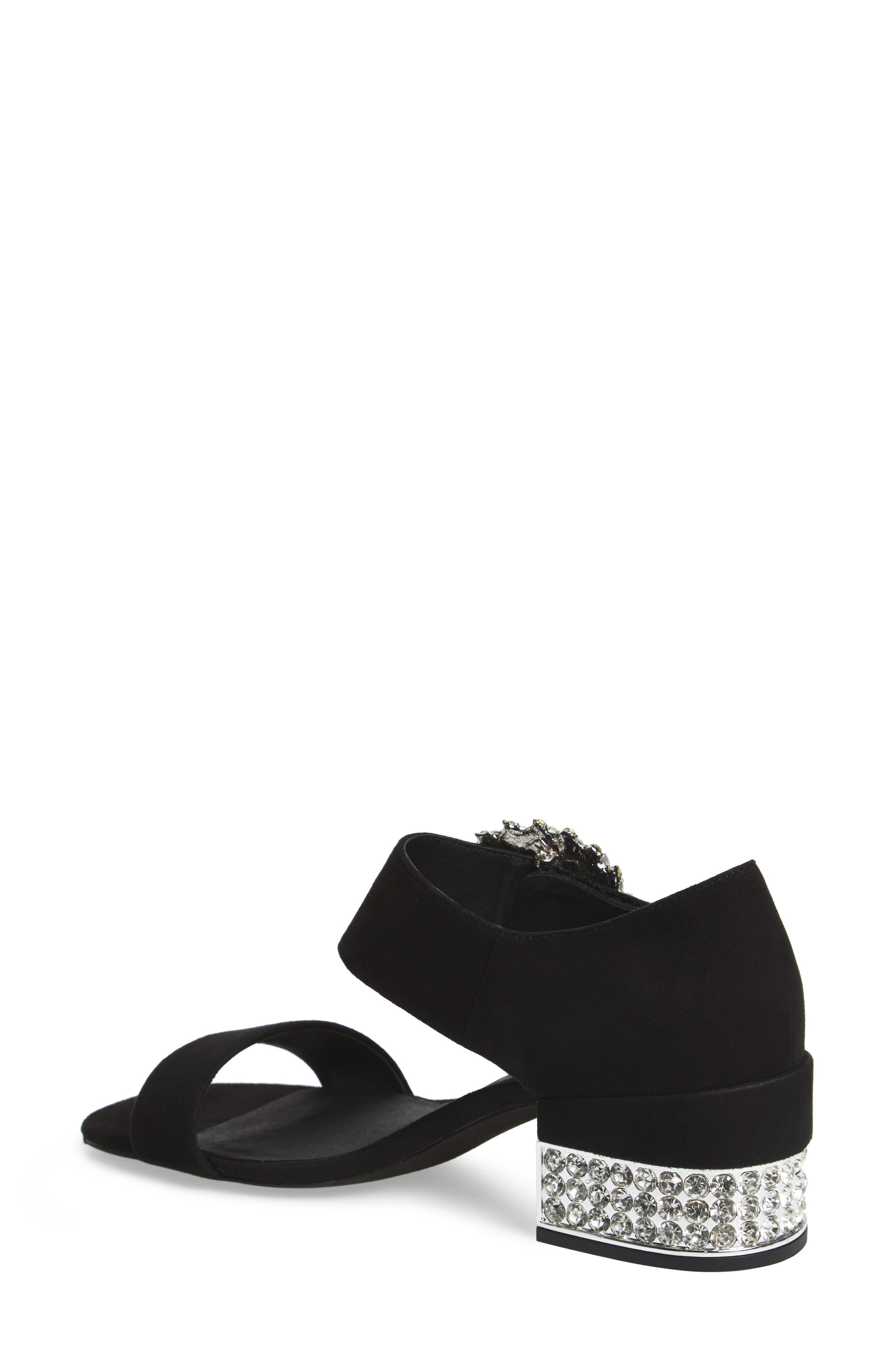 Kaylene Crystal Embellished Sandal,                             Alternate thumbnail 2, color,                             Black/ Silver Suede