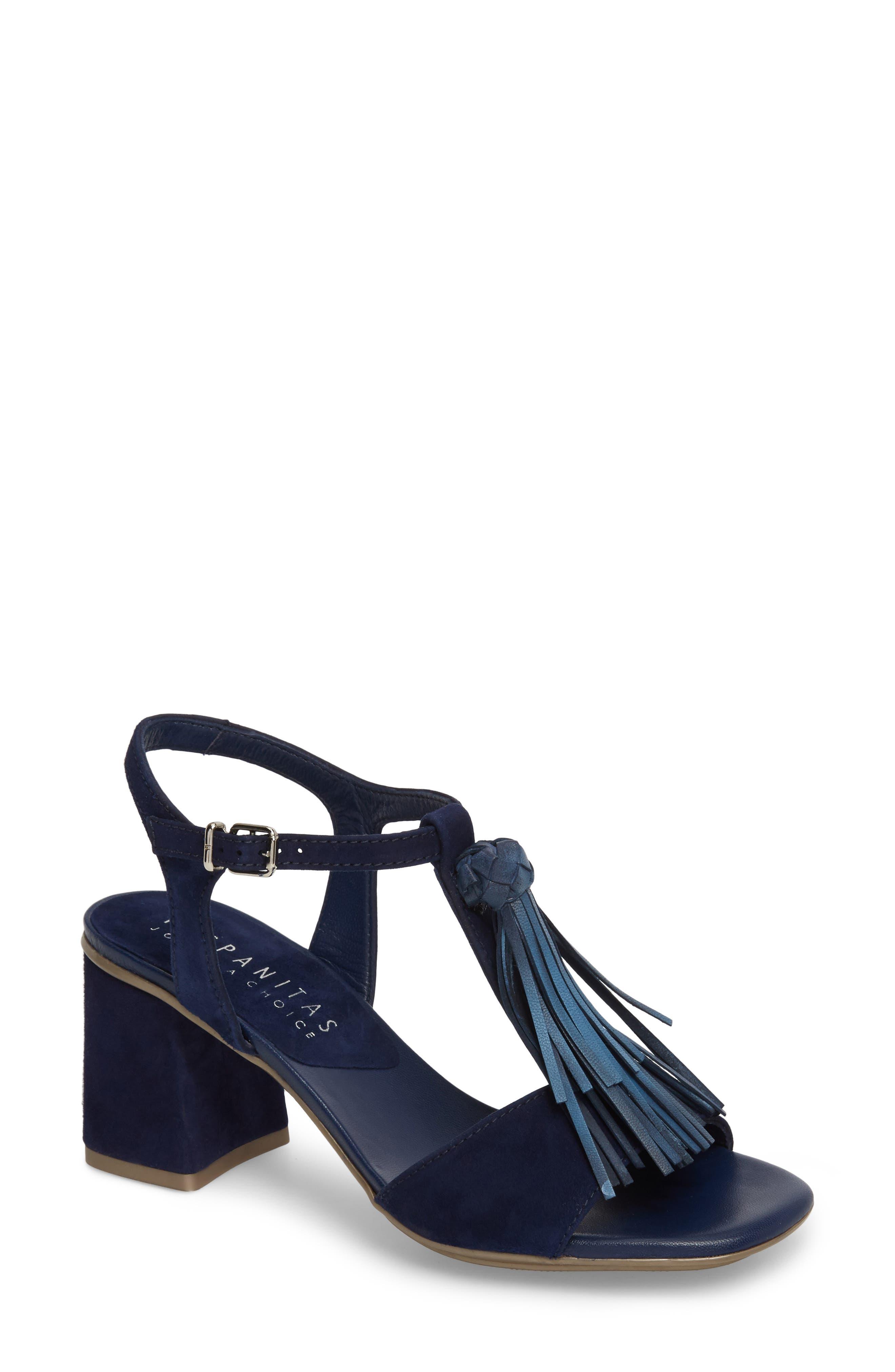 Schulyer T-Strap Sandal,                         Main,                         color, Jeans Leather
