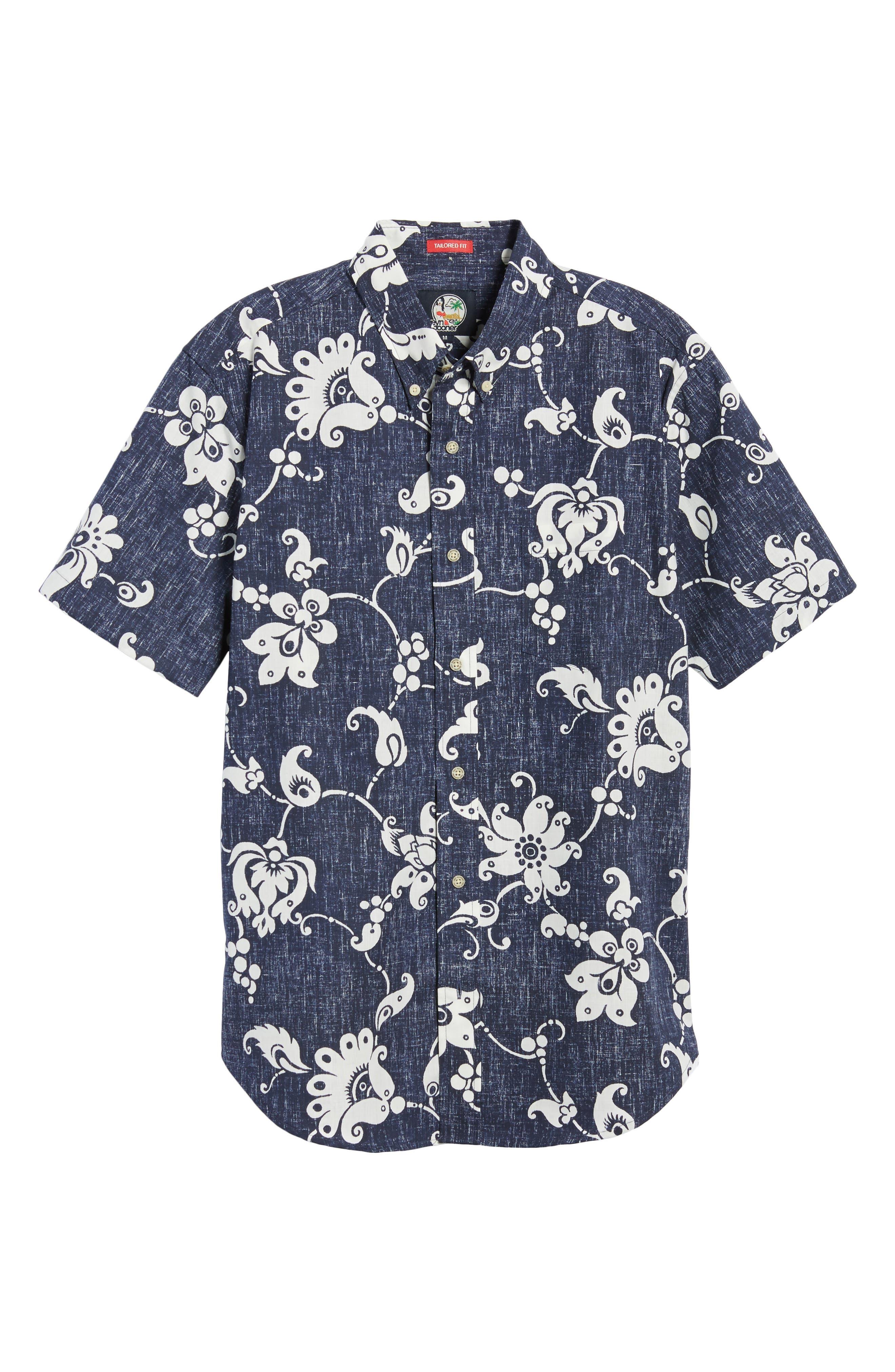 Aloha Pareau Tailored Fit Sport Shirt,                             Alternate thumbnail 6, color,                             Navy