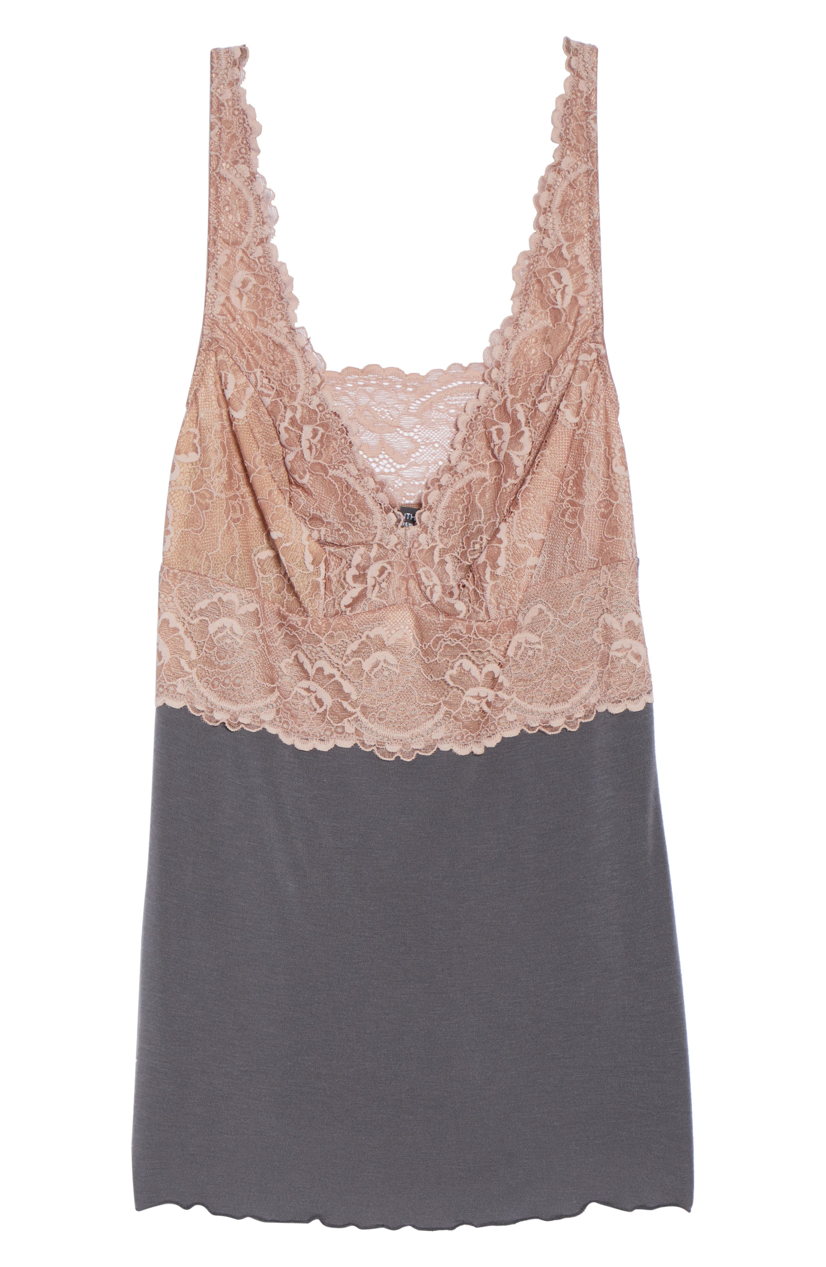 Built Up Camisole,                             Alternate thumbnail 4, color,                             Slate With Java Lace