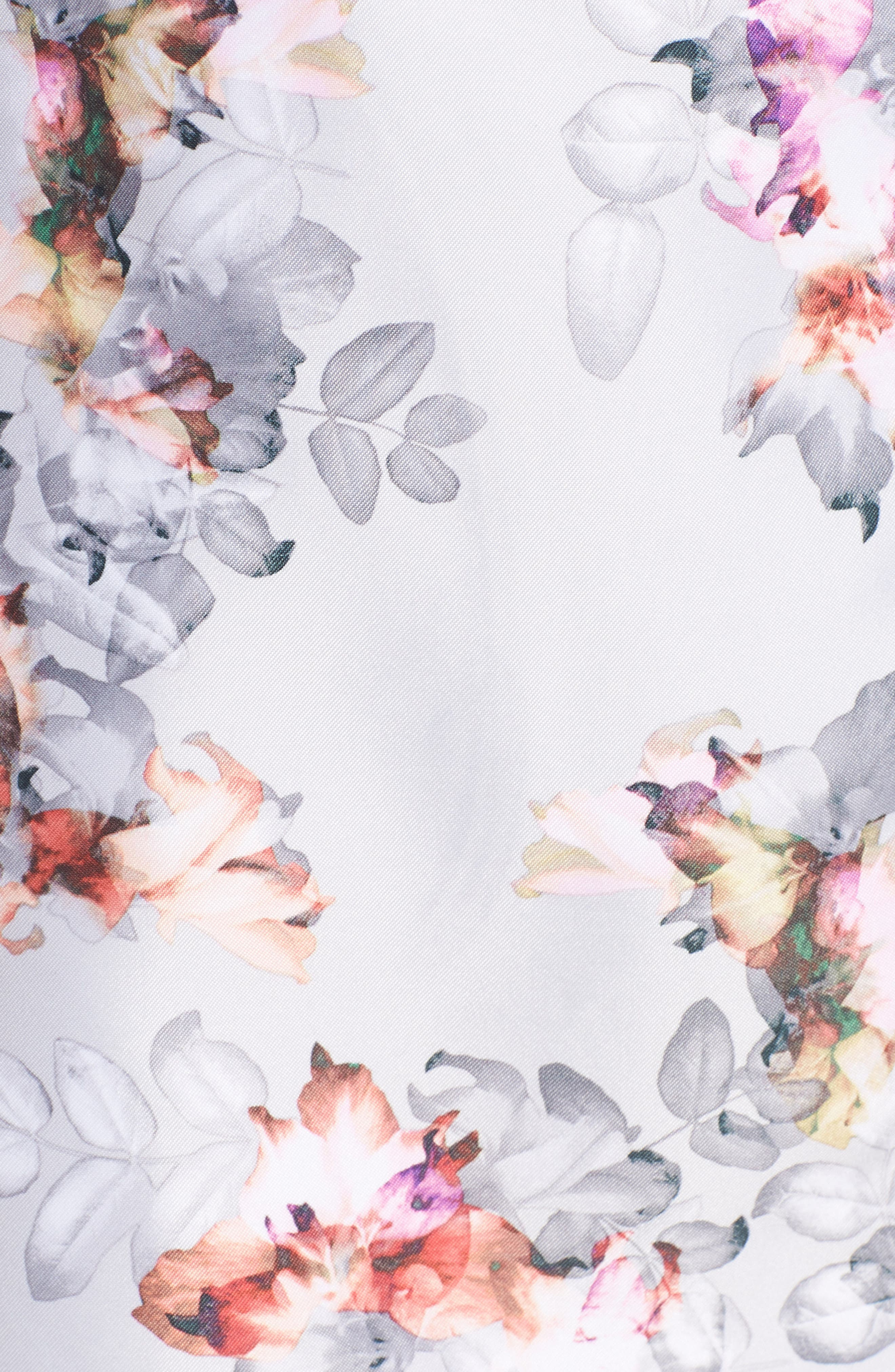 Double Breasted Floral Trench Coat,                             Alternate thumbnail 5, color,                             Floral