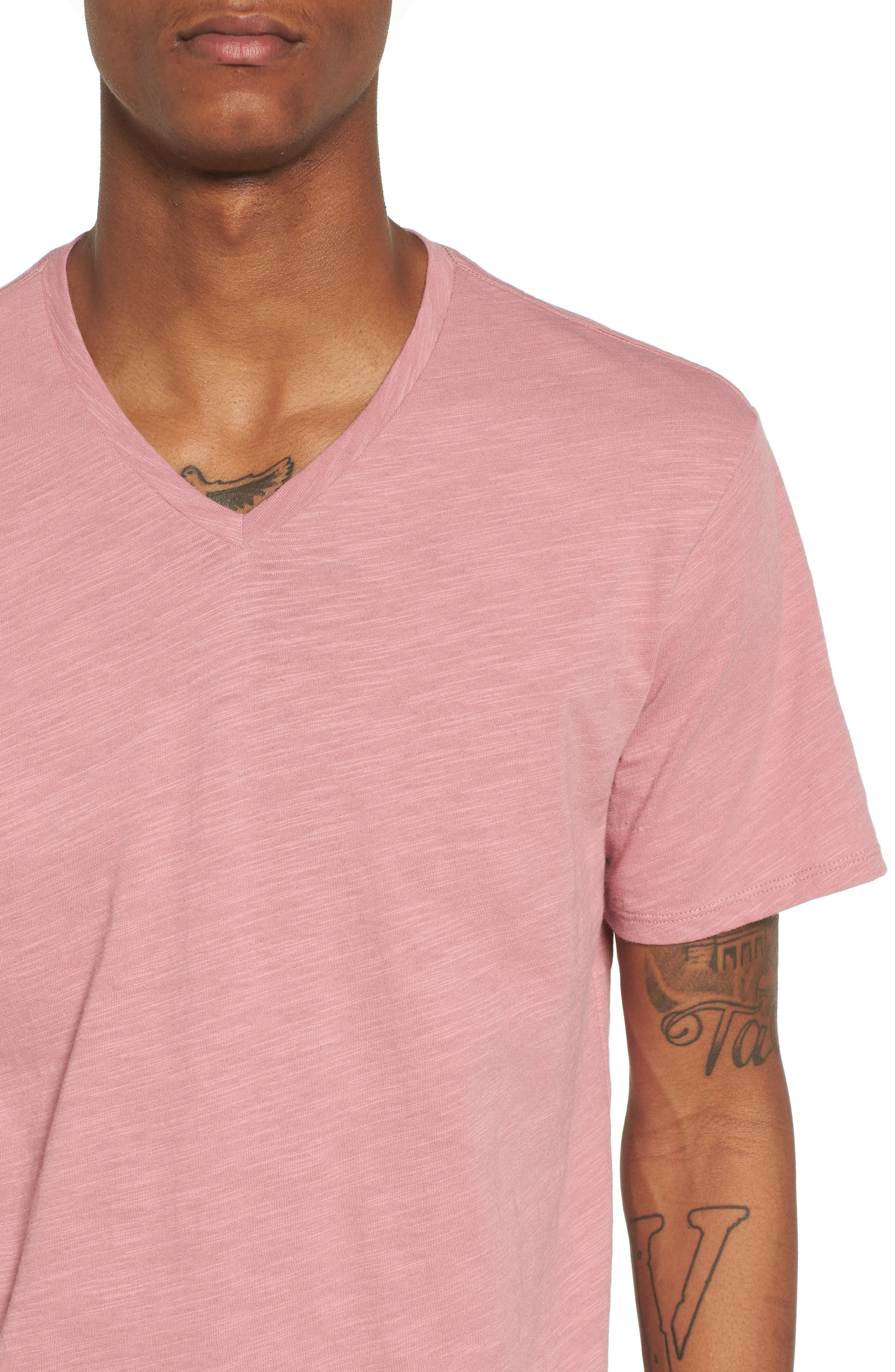 Slub Cotton V-Neck T-Shirt,                             Alternate thumbnail 4, color,                             Pink Foxglove