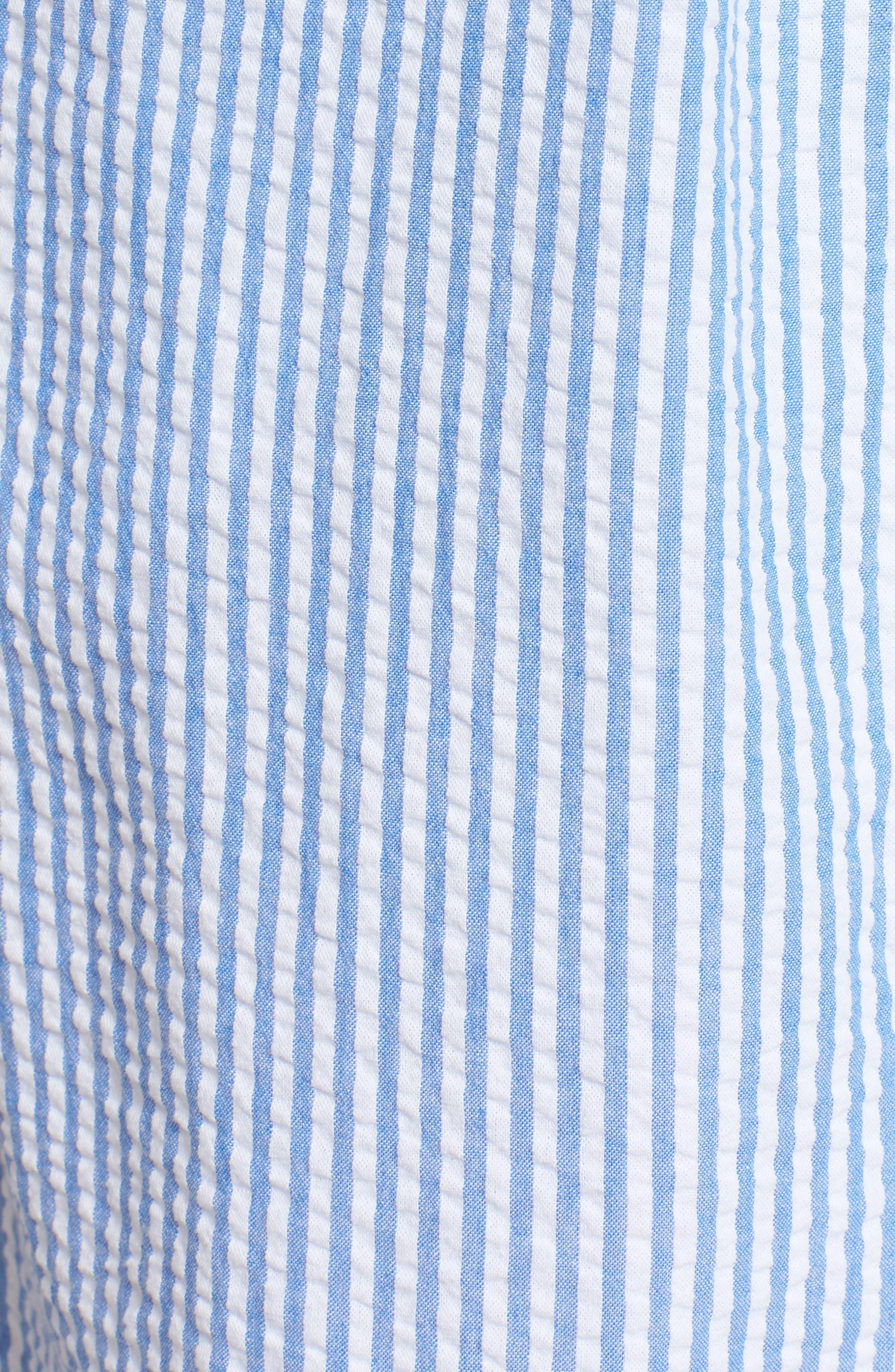 Tie Front Seersucker Shirtdress,                             Alternate thumbnail 5, color,                             Cornflower