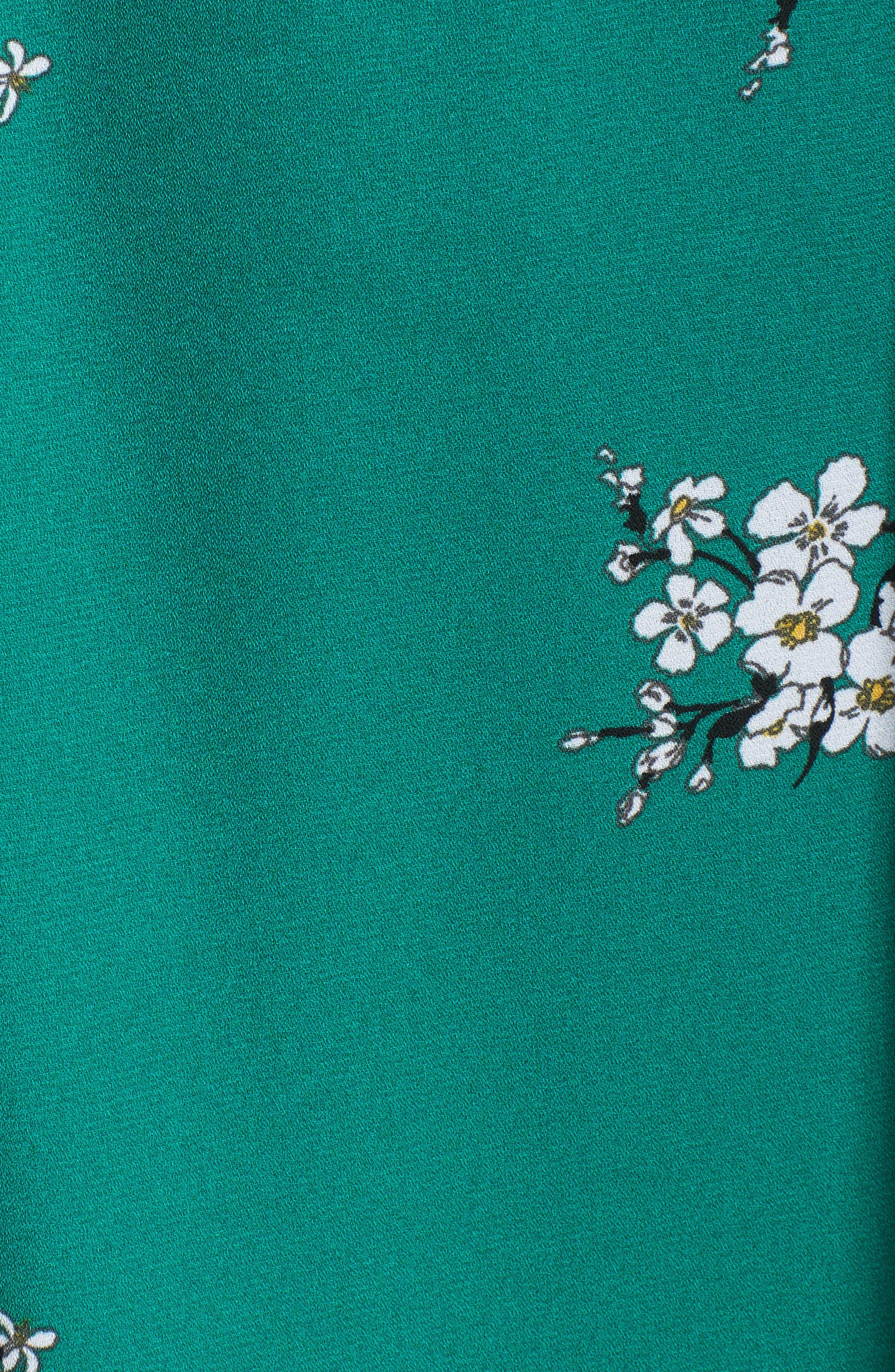 Floral Faux Wrap Dress,                             Alternate thumbnail 5, color,                             Green Branch Floral