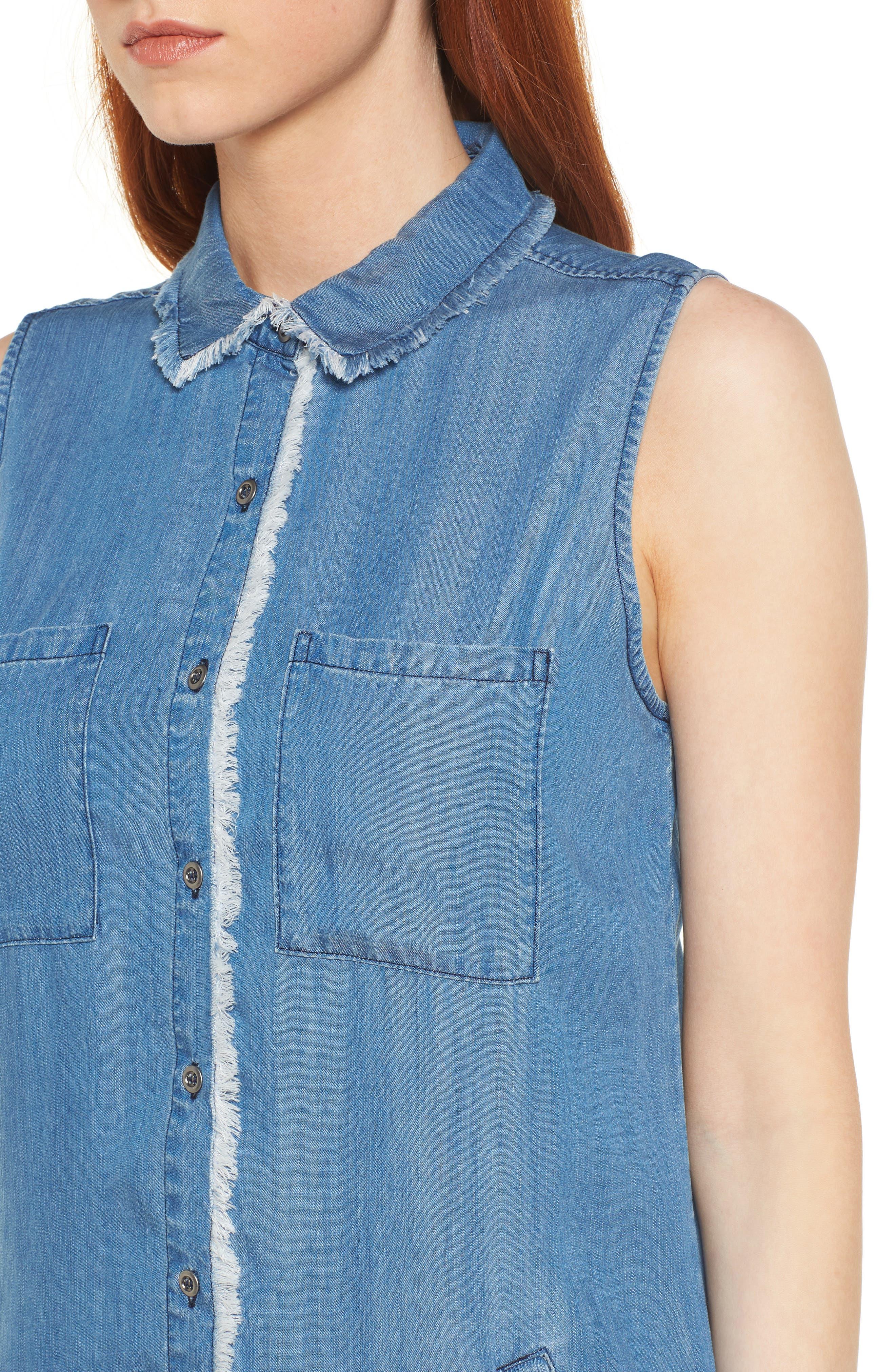 Sleeveless Back Cutout Shirtdress,                             Alternate thumbnail 4, color,                             Blue
