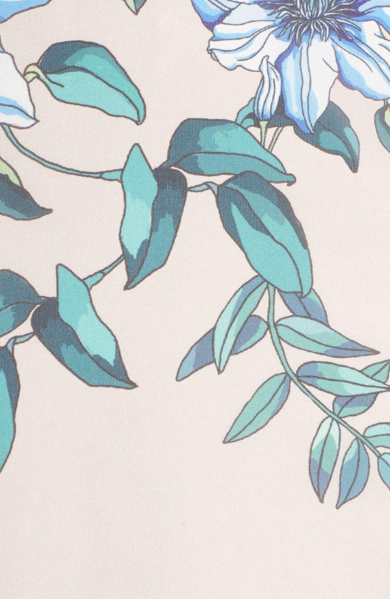 Floral Courtyard Midi Dress,                             Alternate thumbnail 5, color,                             Print Light