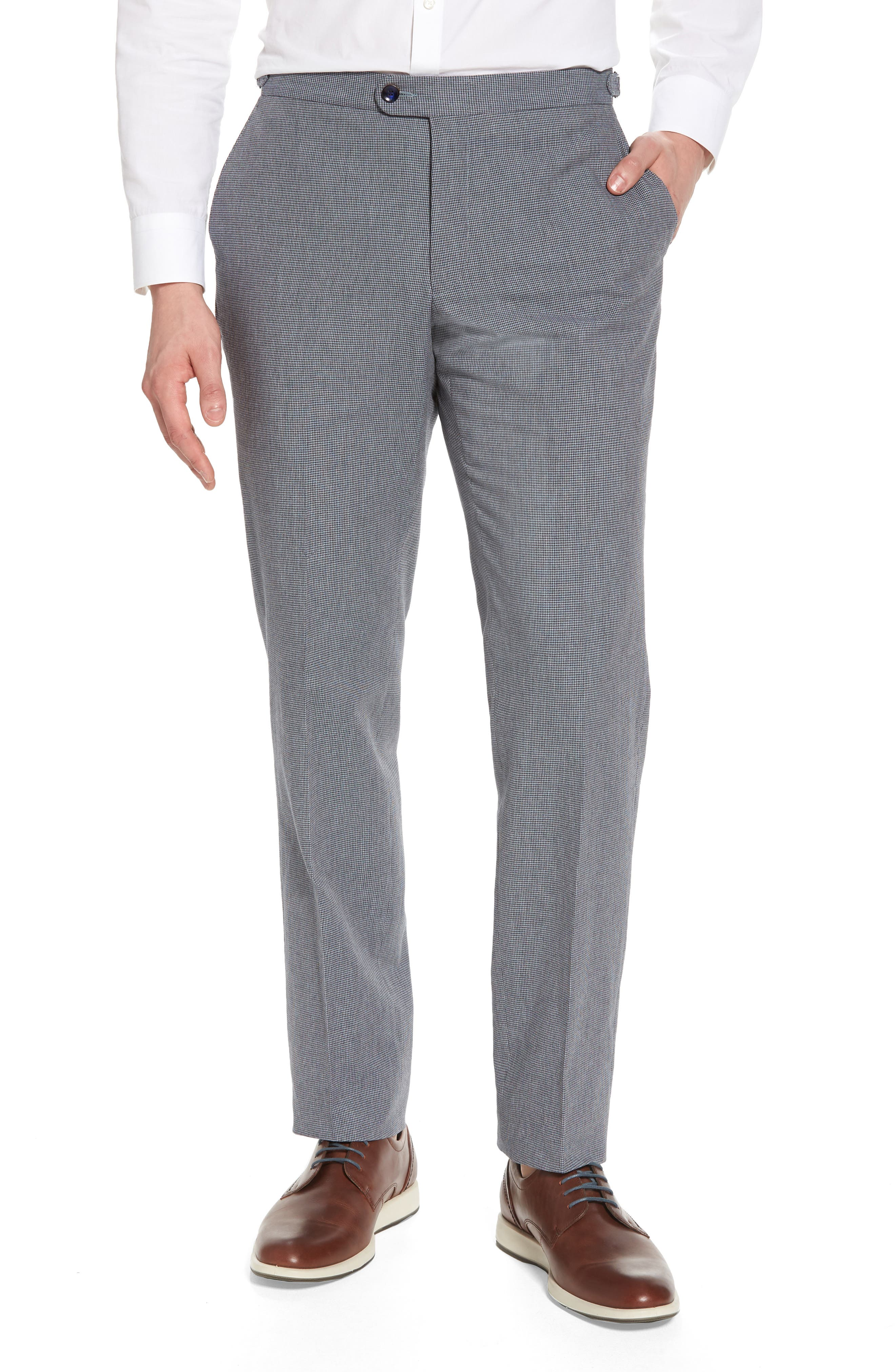 Main Image - H Flat Front Houndstooth Cotton Trousers