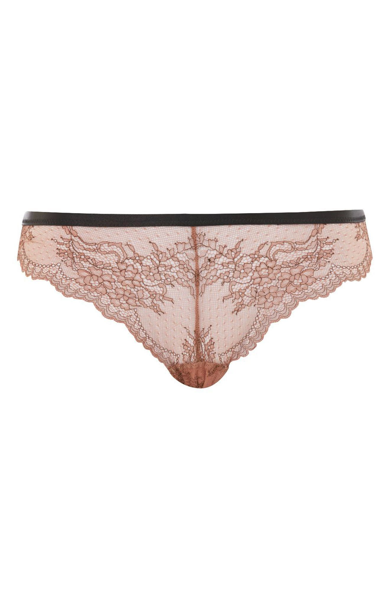 Lila Lace Brazilian Panties,                             Main thumbnail 1, color,                             Nude