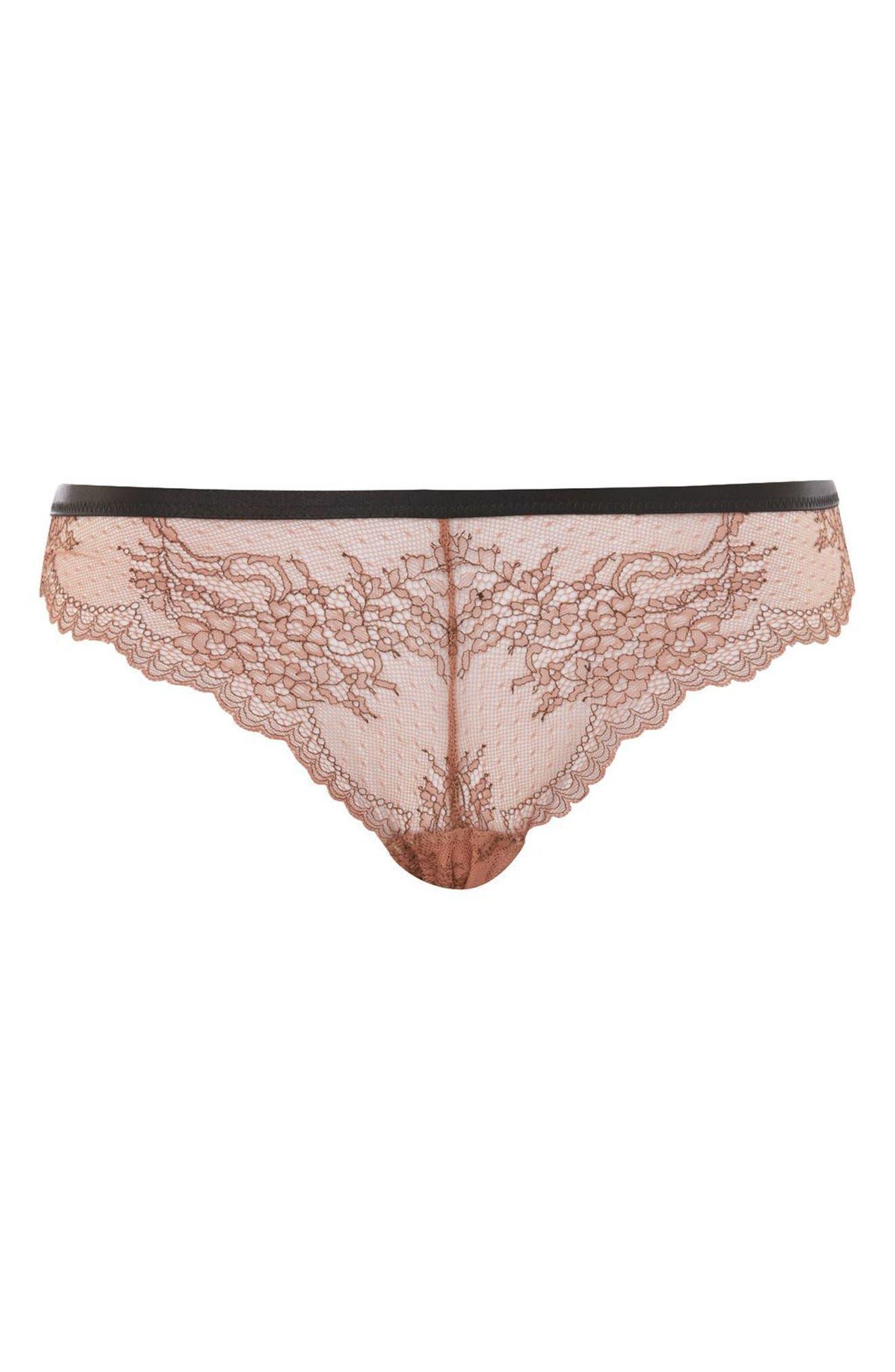 Lila Lace Brazilian Panties,                         Main,                         color, Nude