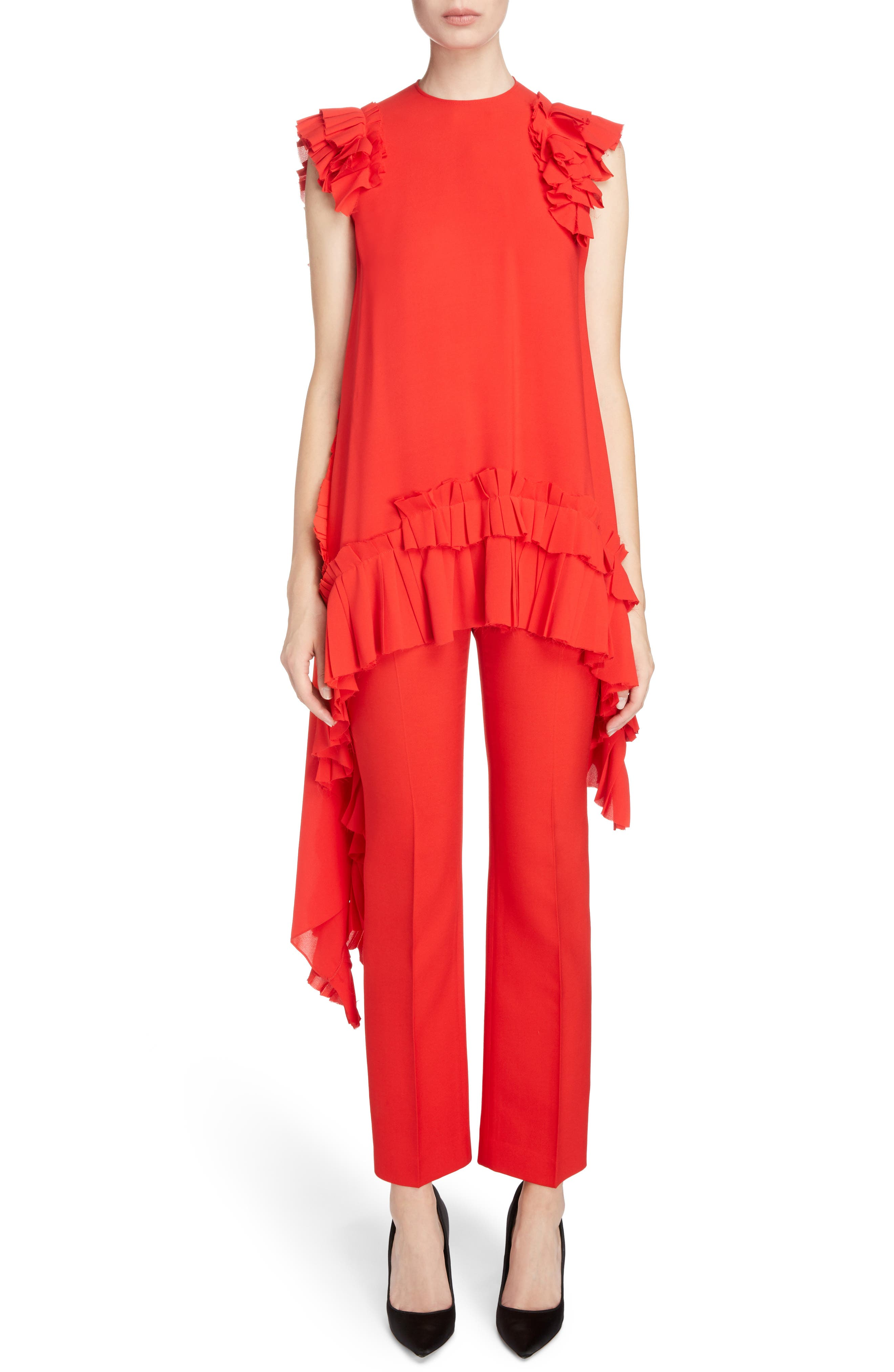 Asymmetrical Ruffle Trim Silk Georgette Top,                         Main,                         color, Lust Red